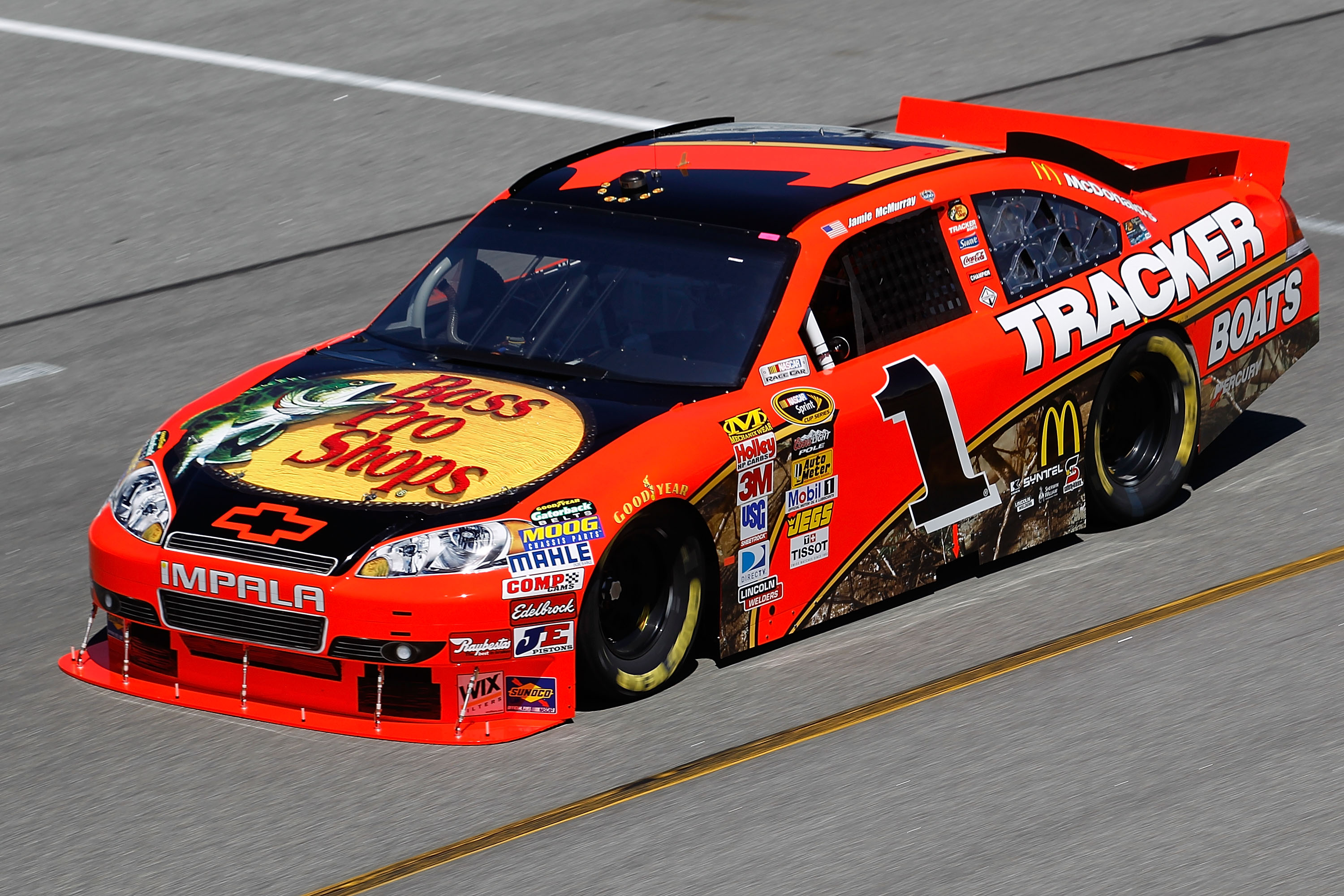 RICHMOND, VA - SEPTEMBER 10:  Jamie McMurray drives the #1 Bass Pro Shops/Tracker Chevrolet during practice for the NASCAR Sprint Cup Series Air Guard 400 at Richmond International Raceway on September 10, 2010 in Richmond, Virginia.  (Photo by Todd Warsh