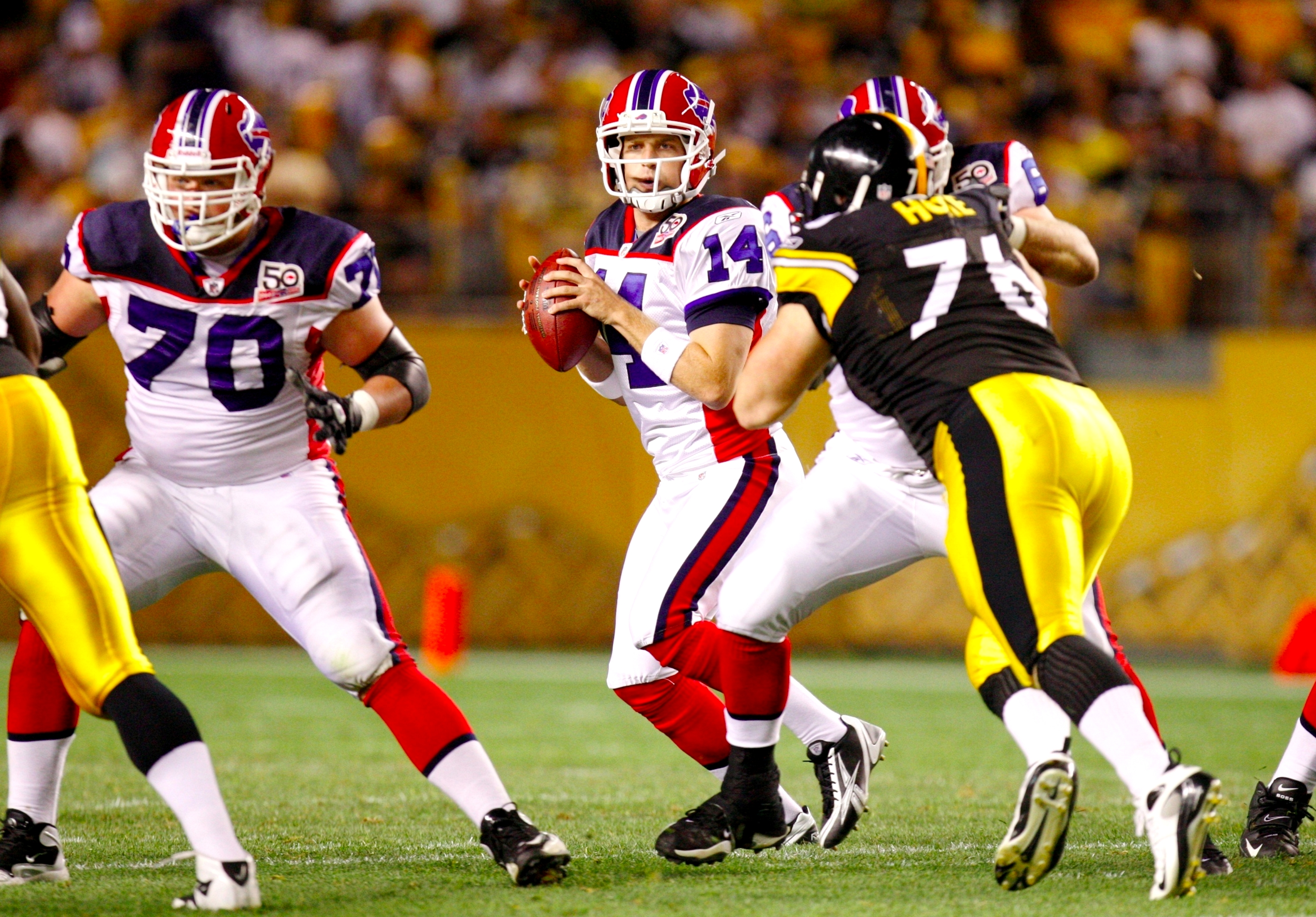 PITTSBURGH - AUGUST 29: Quarterback Ryan Fitzpatrick #14 of the Buffalo Bills looks to pass downfield in the third quarter during the game against the Pittsburgh Steelers at Heinz Field on August 29, 2009 in Pittsburgh, Pennsylvania. (Photo by Gregory Sha