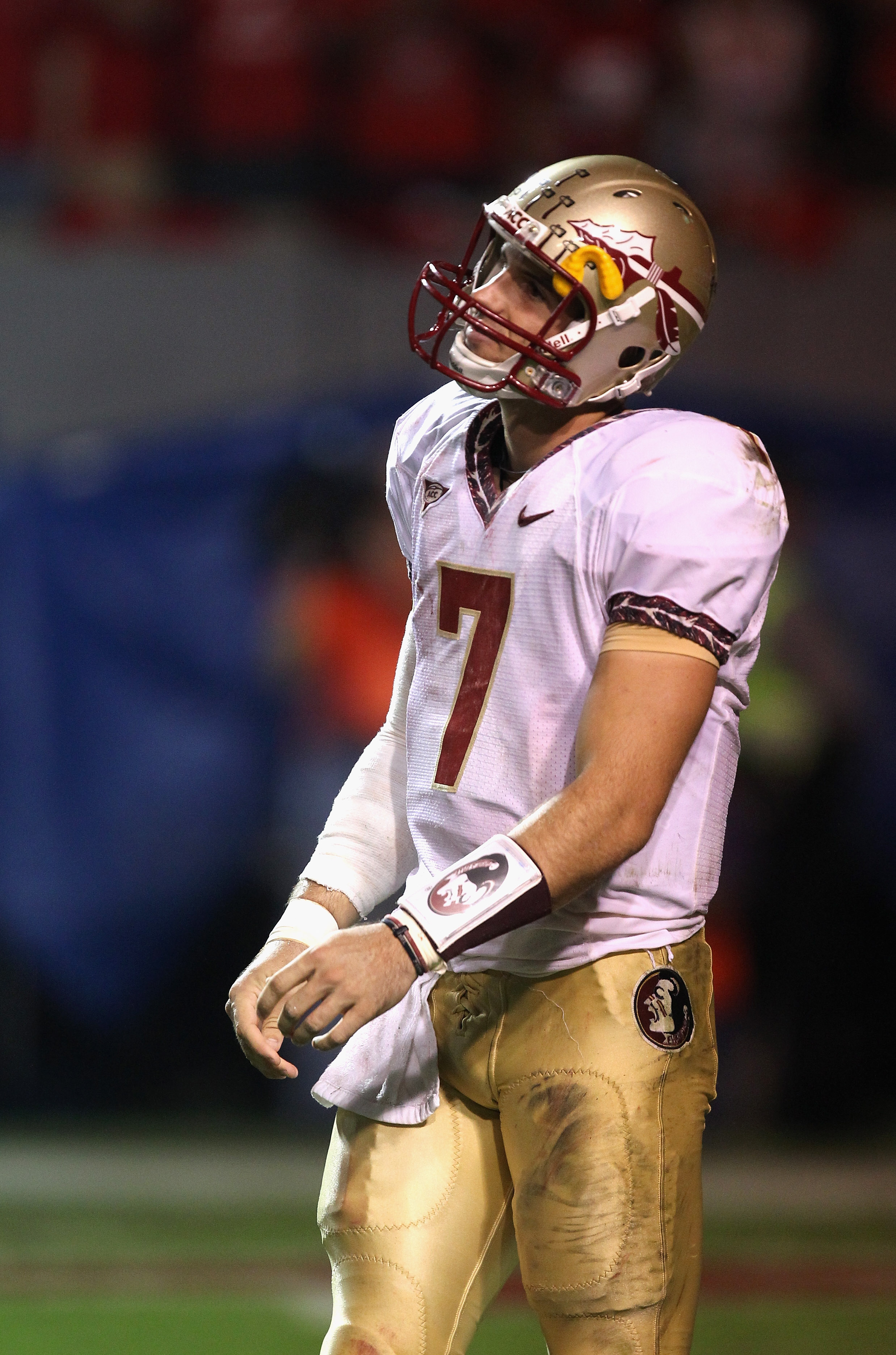 RALEIGH, NC - OCTOBER 28:  Christian Ponder #7 of the Florida State Seminoles reacts to a play against the North Carolina State Wolfpack during their game at Carter-Finley Stadium on October 28, 2010 in Raleigh, North Carolina.  (Photo by Streeter Lecka/G