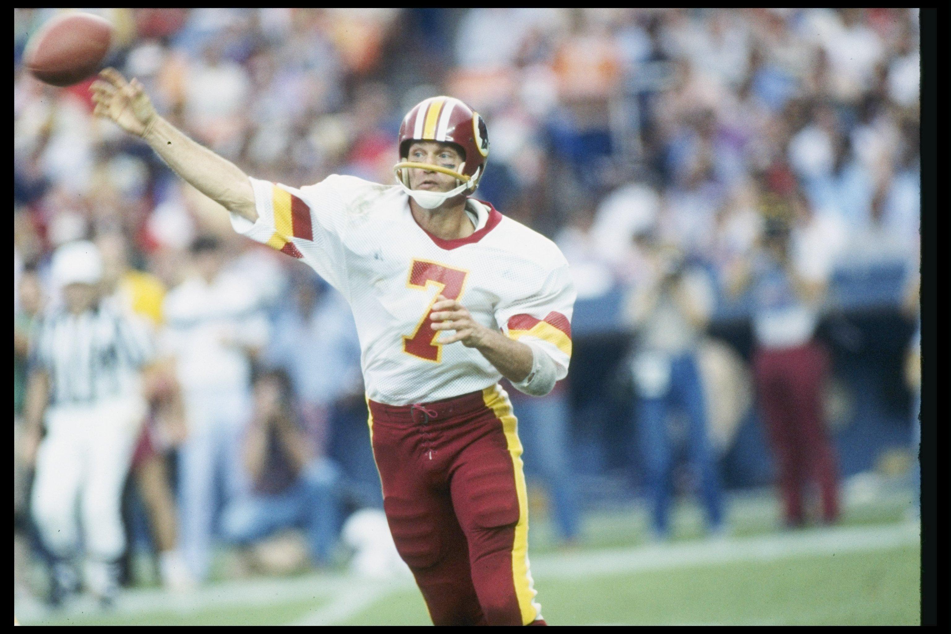 1983:  Quarterback Joe Theismann of the Washington Redskins passes the ball during a game. Mandatory Credit: Allsport  /Allsport
