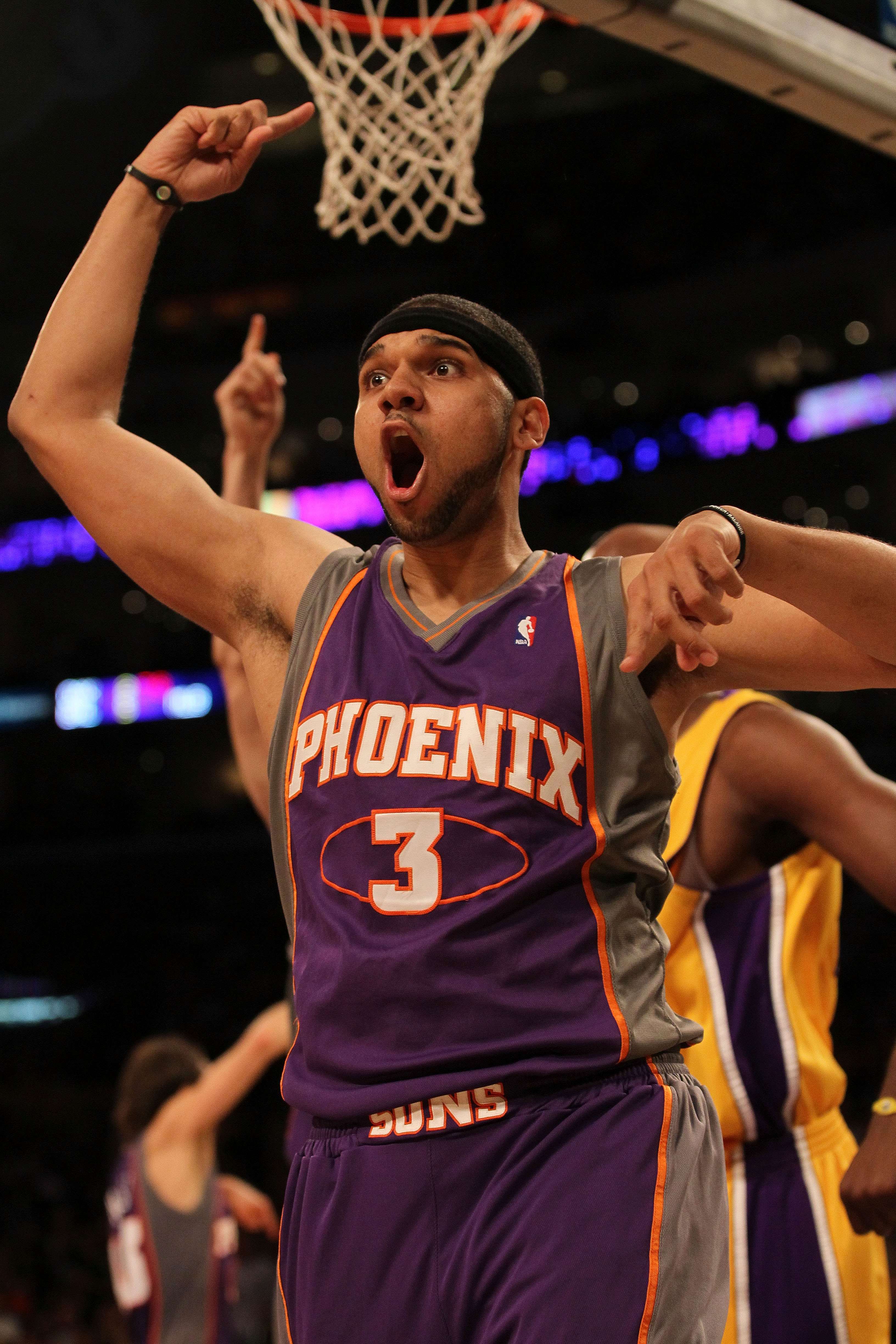 LOS ANGELES, CA - MAY 27:  Jared Dudley #3 of the Phoenix Suns reacts to a play by the Los Angeles Lakers in the first half of Game Five of the Western Conference Finals during the 2010 NBA Playoffs at Staples Center on May 27, 2010 in Los Angeles, Califo