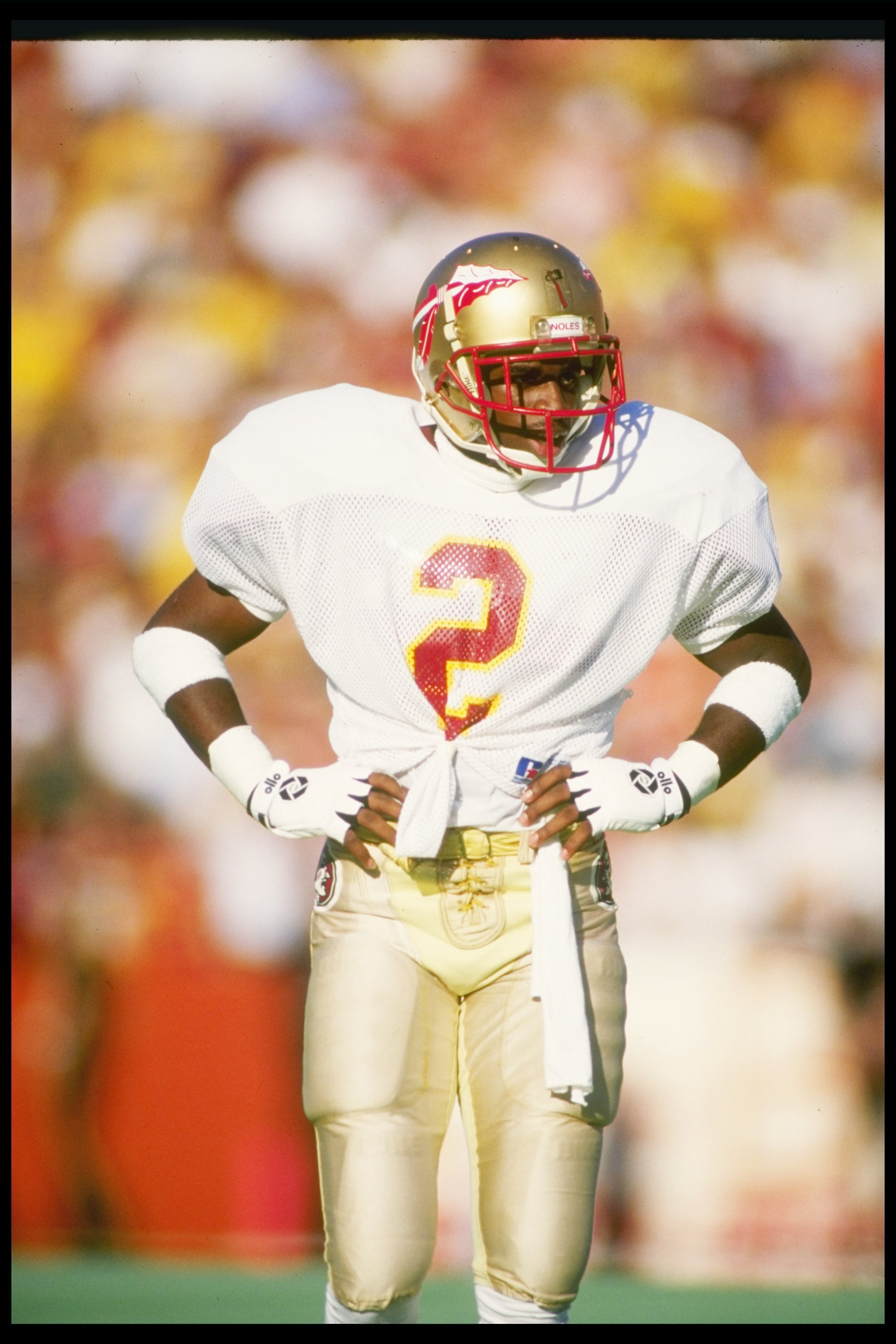 28 Nov 1987  Cornerback Deion Sanders of the Florida State Seminoles stands  on the field 971946777