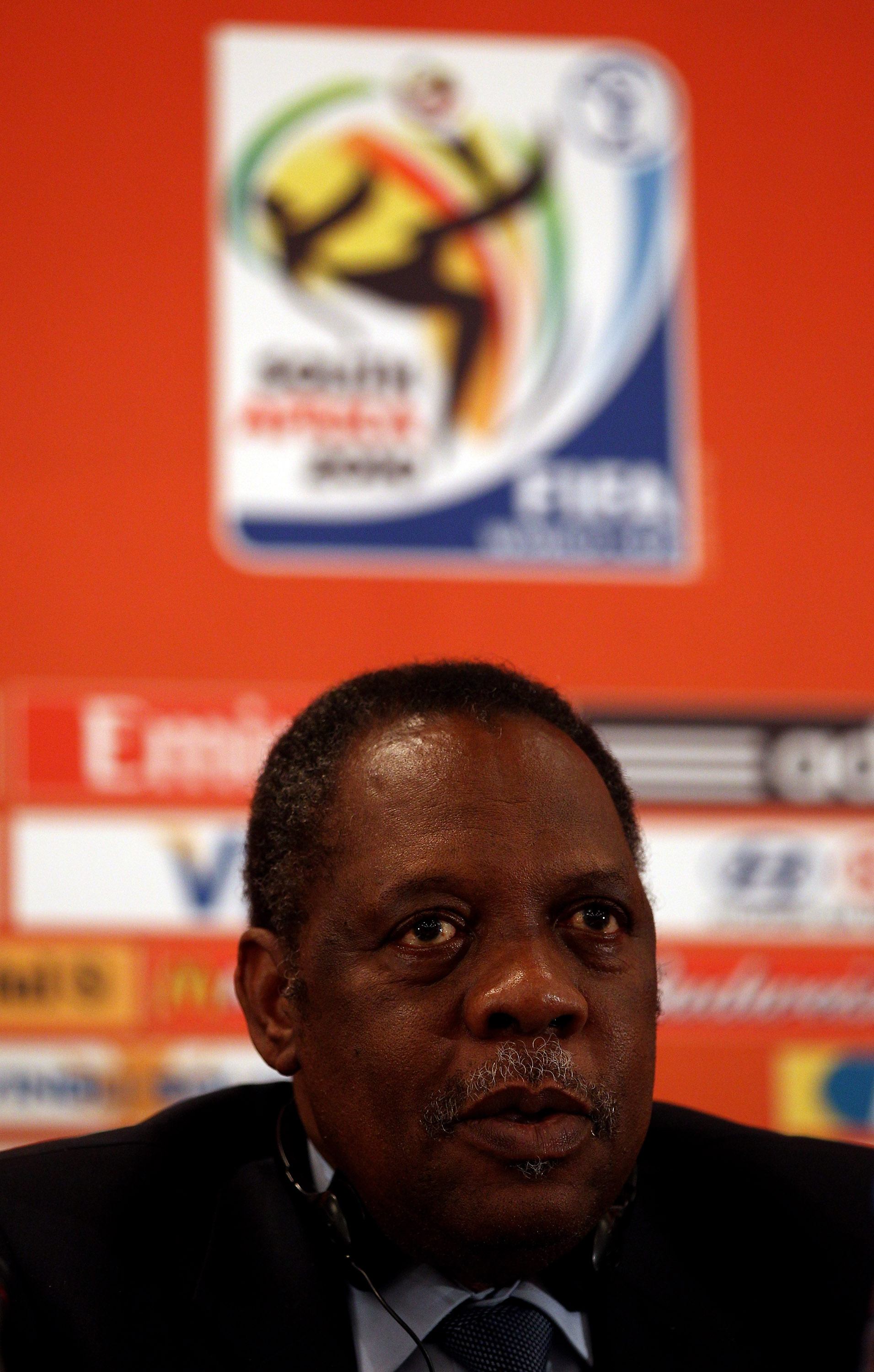 SANDTON, SOUTH AFRICA - JULY 08:  Chairman of the Organising Committee of the FIFA World Cup and FIFA Vice-President Issa Hayatou talks to the media during the FIFA Organising Committee Press Conference at the Sandton Sun Conference Centre on July 8, 2010