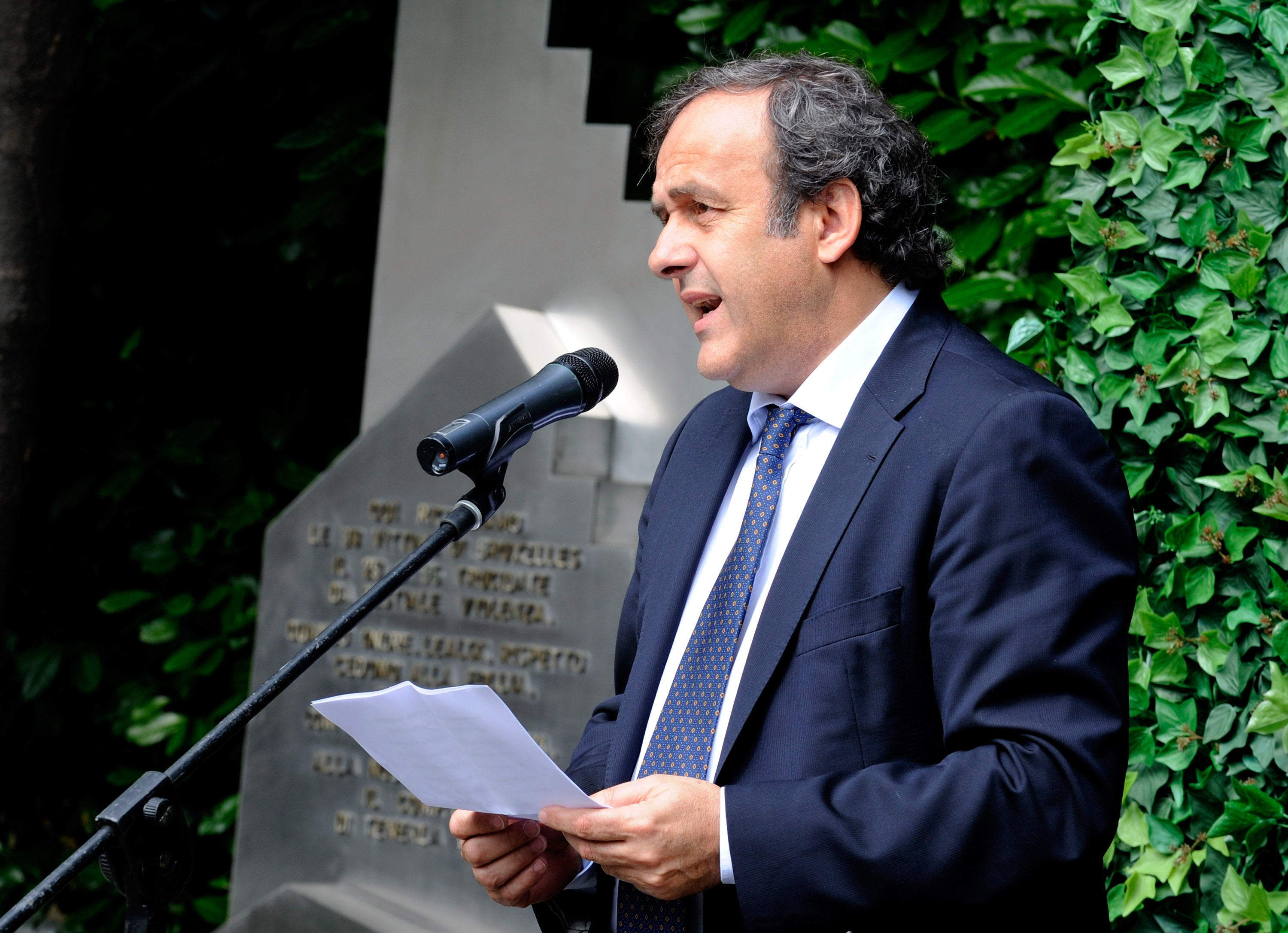TURIN, ITALY - MAY 29:  UEFA President Michel Platini during the Heysel commemorative ceremony on May 29, 2010 in Turin, Italy. The ceremony remembers the disaster 25 years ago at Heysel Stadium when a wall collapsed before a Juventus - Liverpool match an