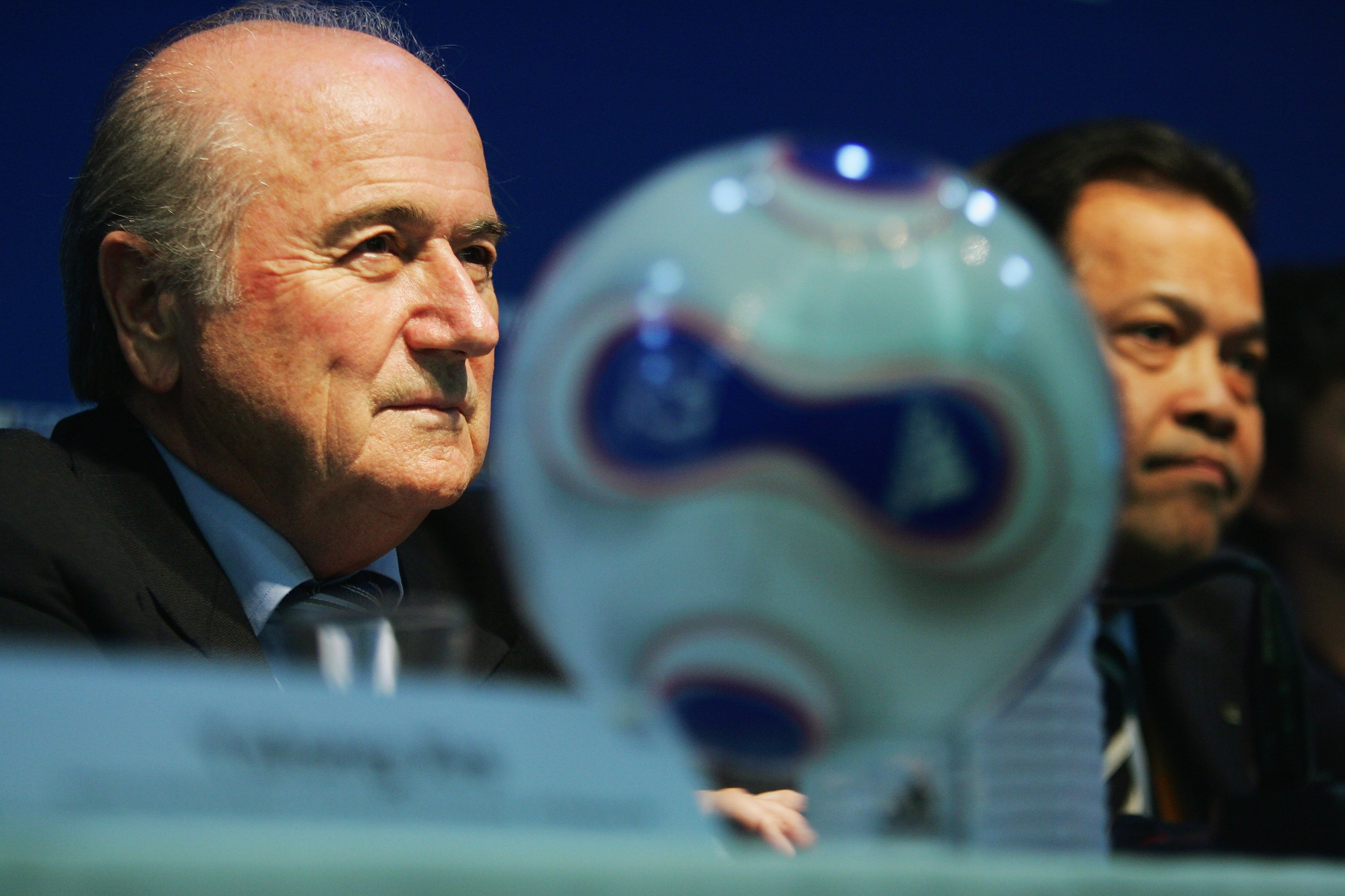 HANGZHOU, CHINA - SEPTEMBER 27:  FIFA President Joseph S. Blatter and Chairman of the Committee for Women's Football Worawi Makudi talk to media at a press conference before the Women's World Cup 2007 Semi Final match between USA and Brazil at Hangzhou Dr