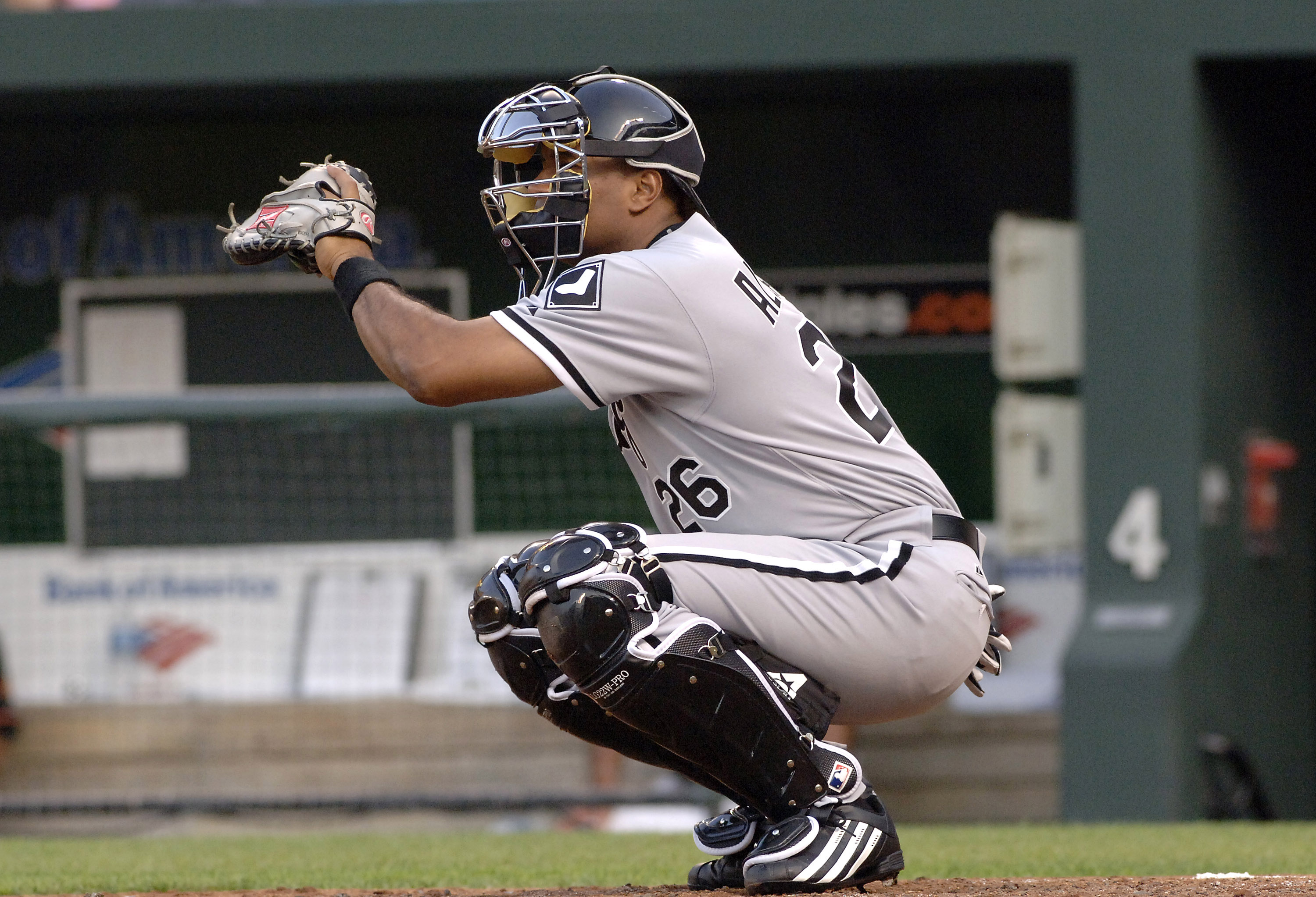 Chicago White Sox catcher Sandy Alomar  before play  against the Baltimore Orioles July 28, 2006 in Baltimore, Maryland.  The Sox won 6 - 4 on a ninth inning grand slam home run. (Photo by A. Messerschmidt/Getty Images) *** Local Caption ***