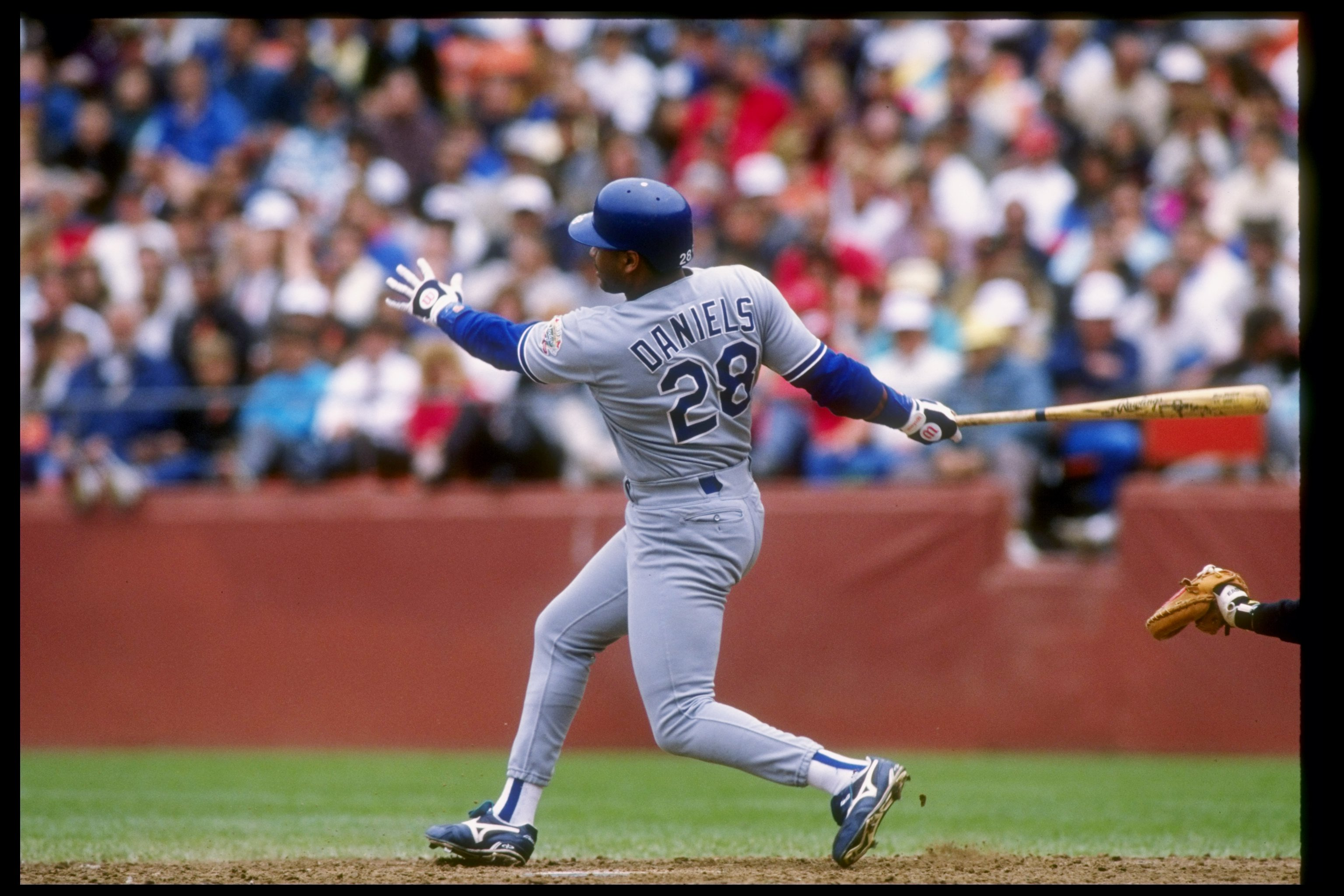 1990:  Outfielder Kal Daniels of the Los Angeles Dodgers hits the ball during a game. Mandatory Credit: Otto Greule  /Allsport