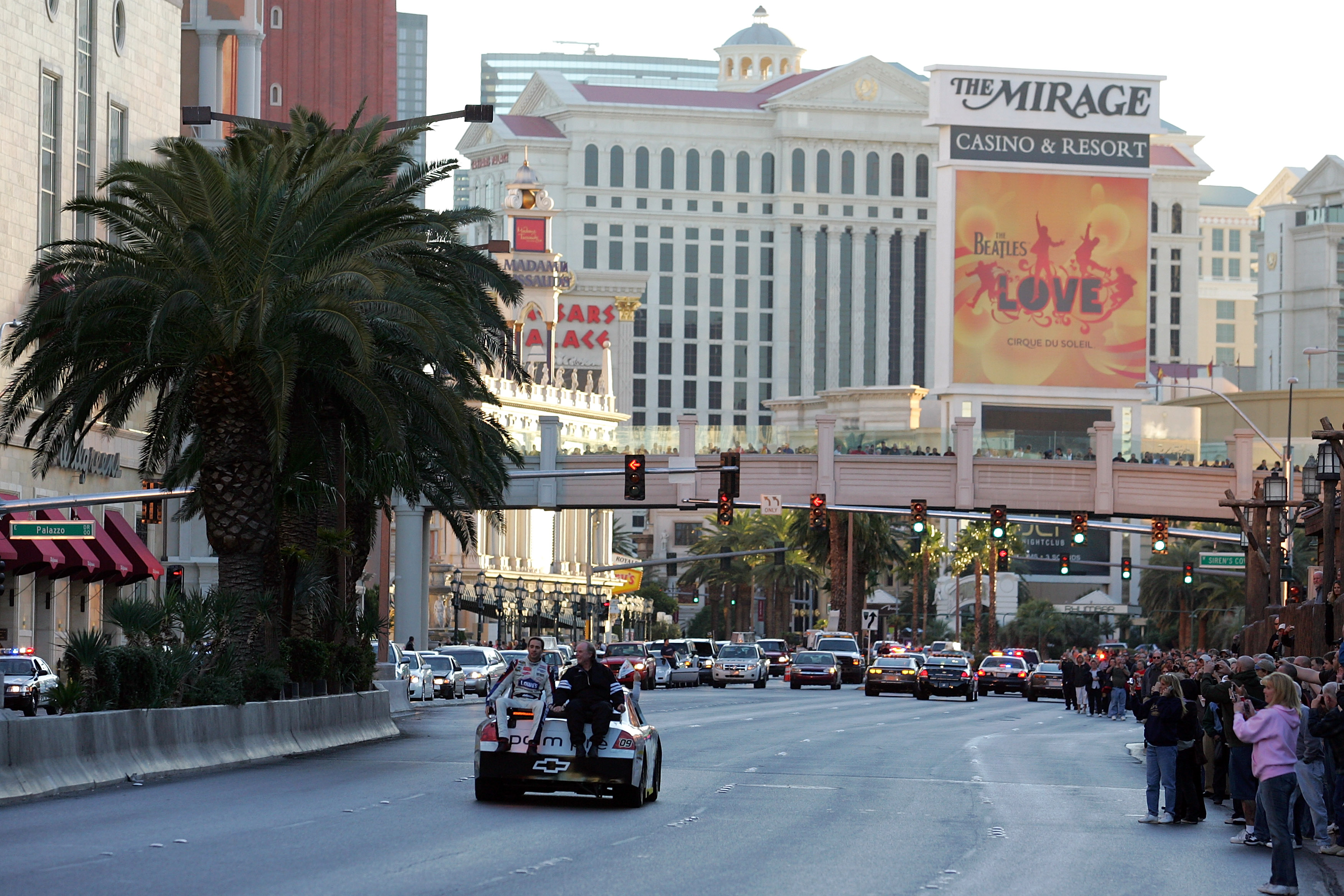 Jimmie Johnson did donuts on the Las Strip during the first annual