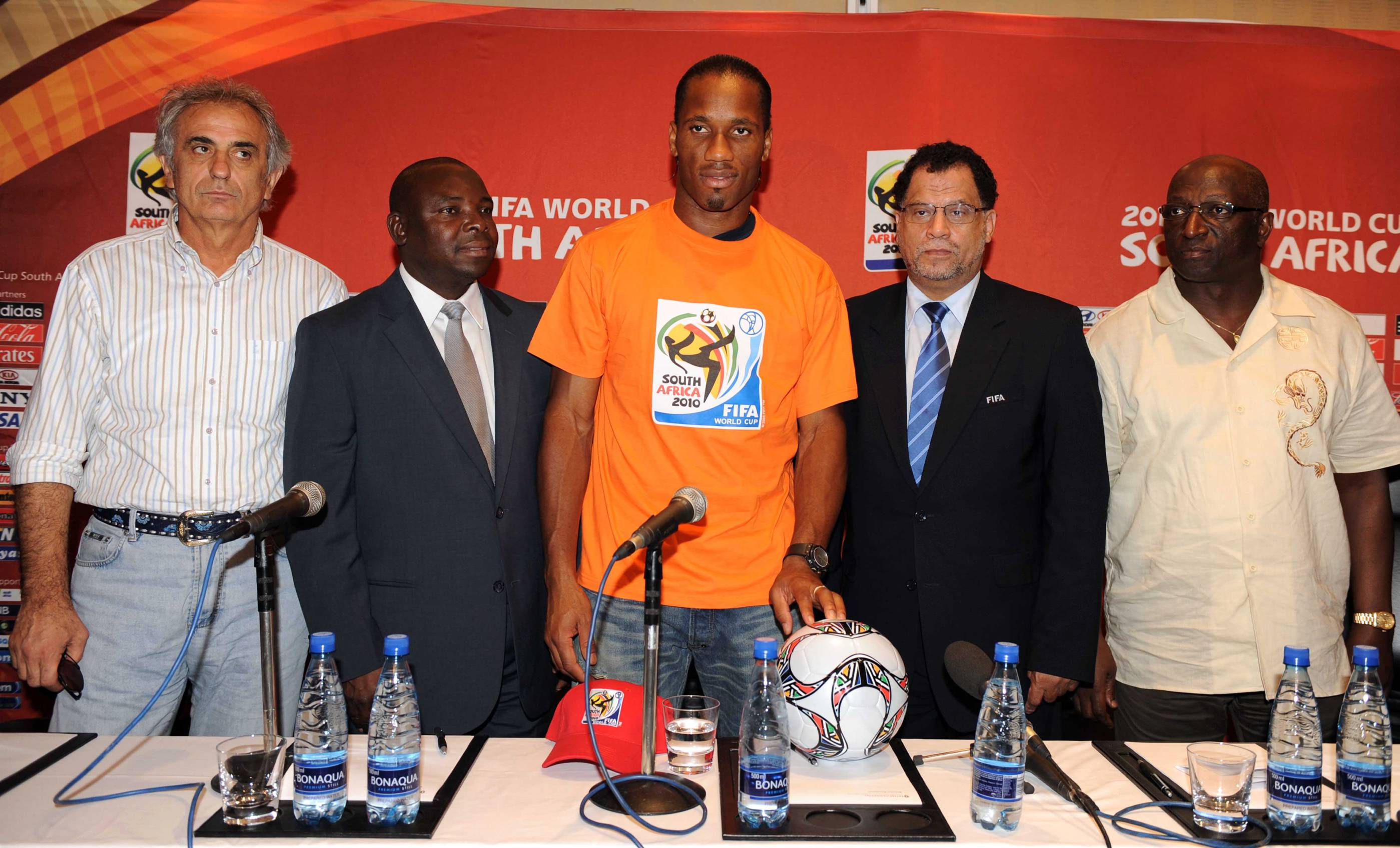 JOHANNESBURG, SOUTH AFRICA - OCTOBER 11:   (L-R) Coach Vahid Halilhodzic,  Safa president Kirsten Nematandani, captain Didier Drogba, 2010 LOC CEO Danny Jordaan and FA president Jacques Anouma attend the Ivory Coast Press Conference from the Inter Contine