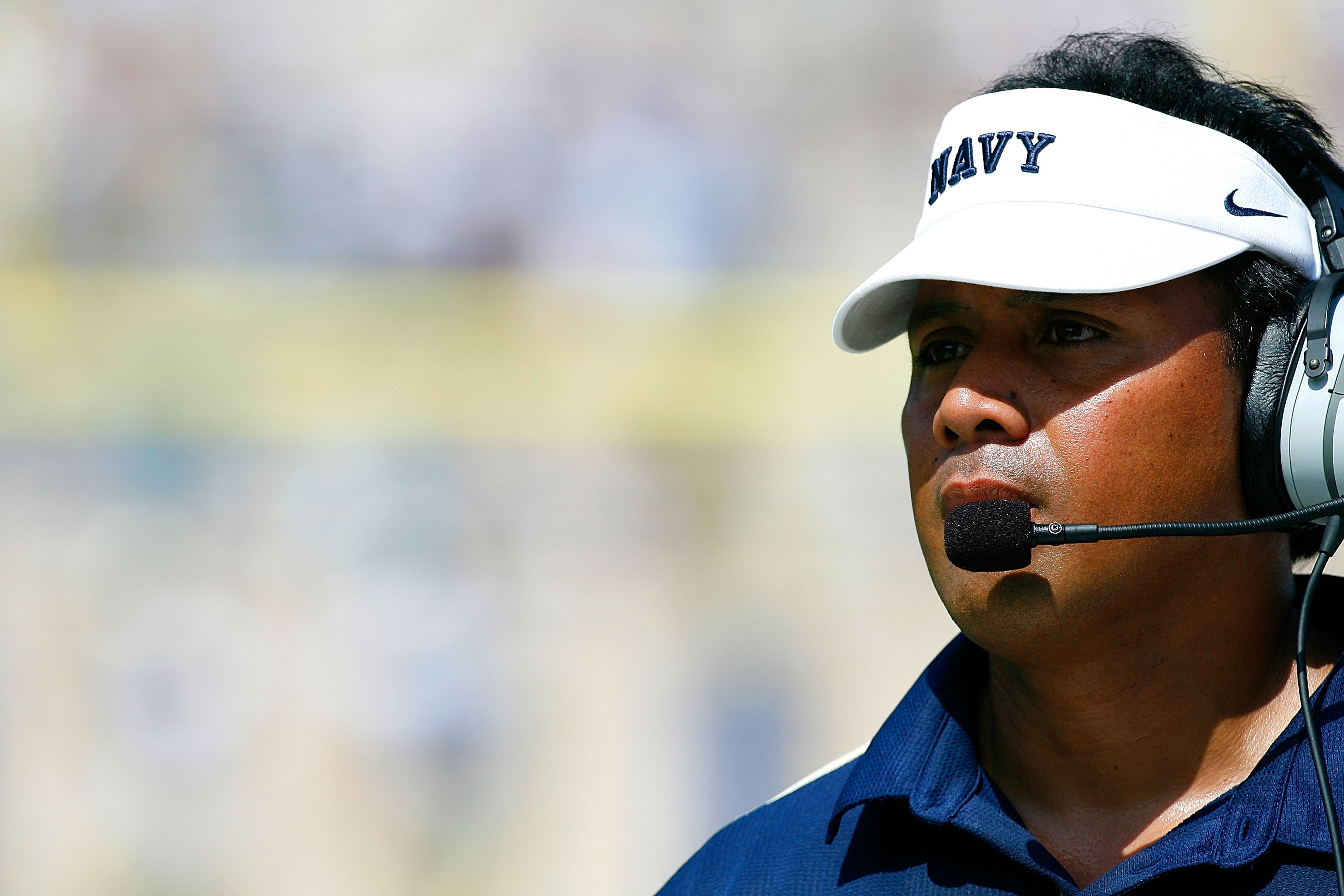 DURHAM, NC - SEPTEMBER 13:  Head coach Ken Niumatalolo of the Navy Midshipmen looks on against the Duke Blue Devils during the game at Wallace Wade Stadium on September 13, 2008 in Durham, North Carolina.  (Photo by Kevin C. Cox/Getty Images)