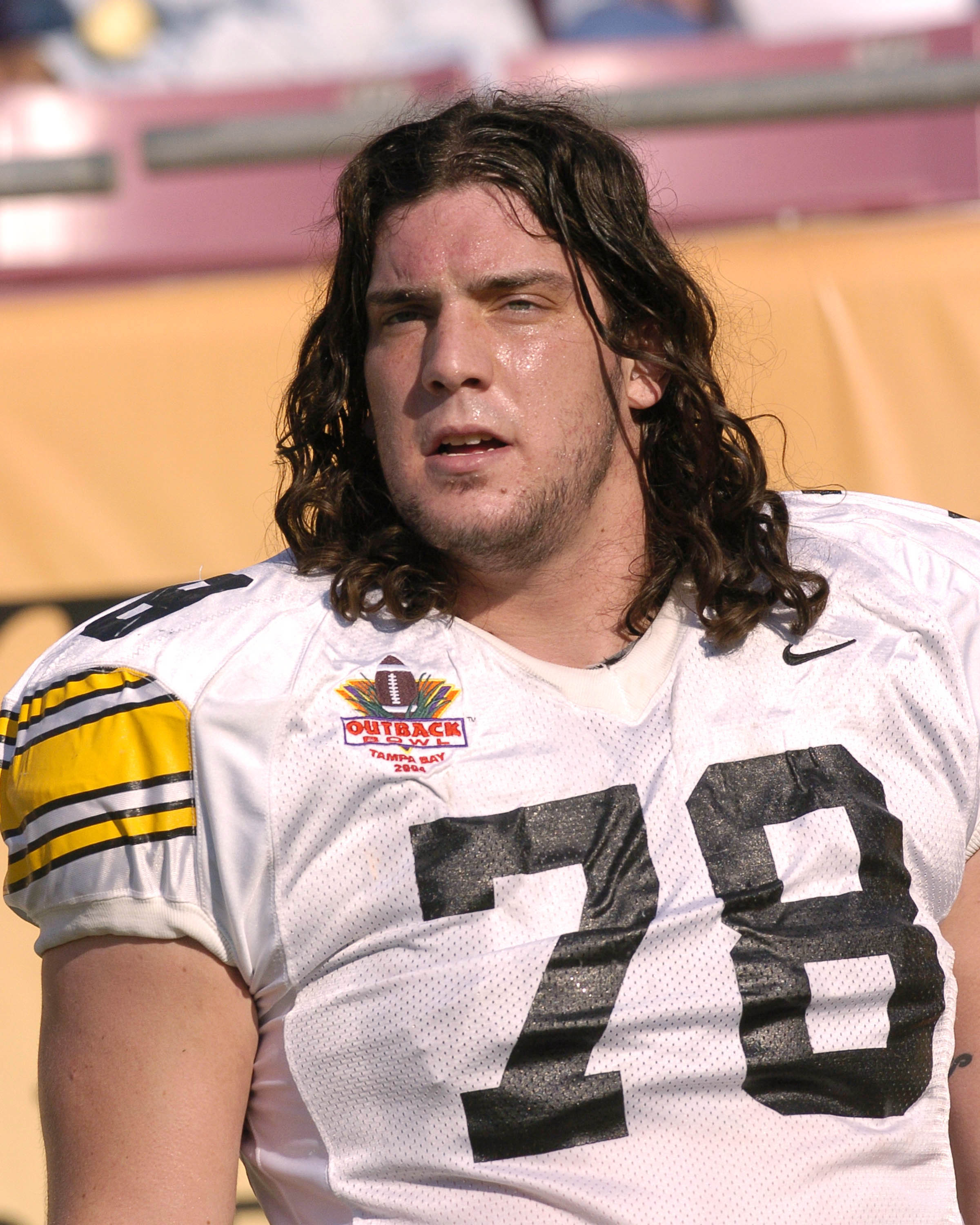 Iowa offensive lineman Robert 'The Mountain' Gallery sets for play (Photo by A. Messerschmidt/Getty Images)
