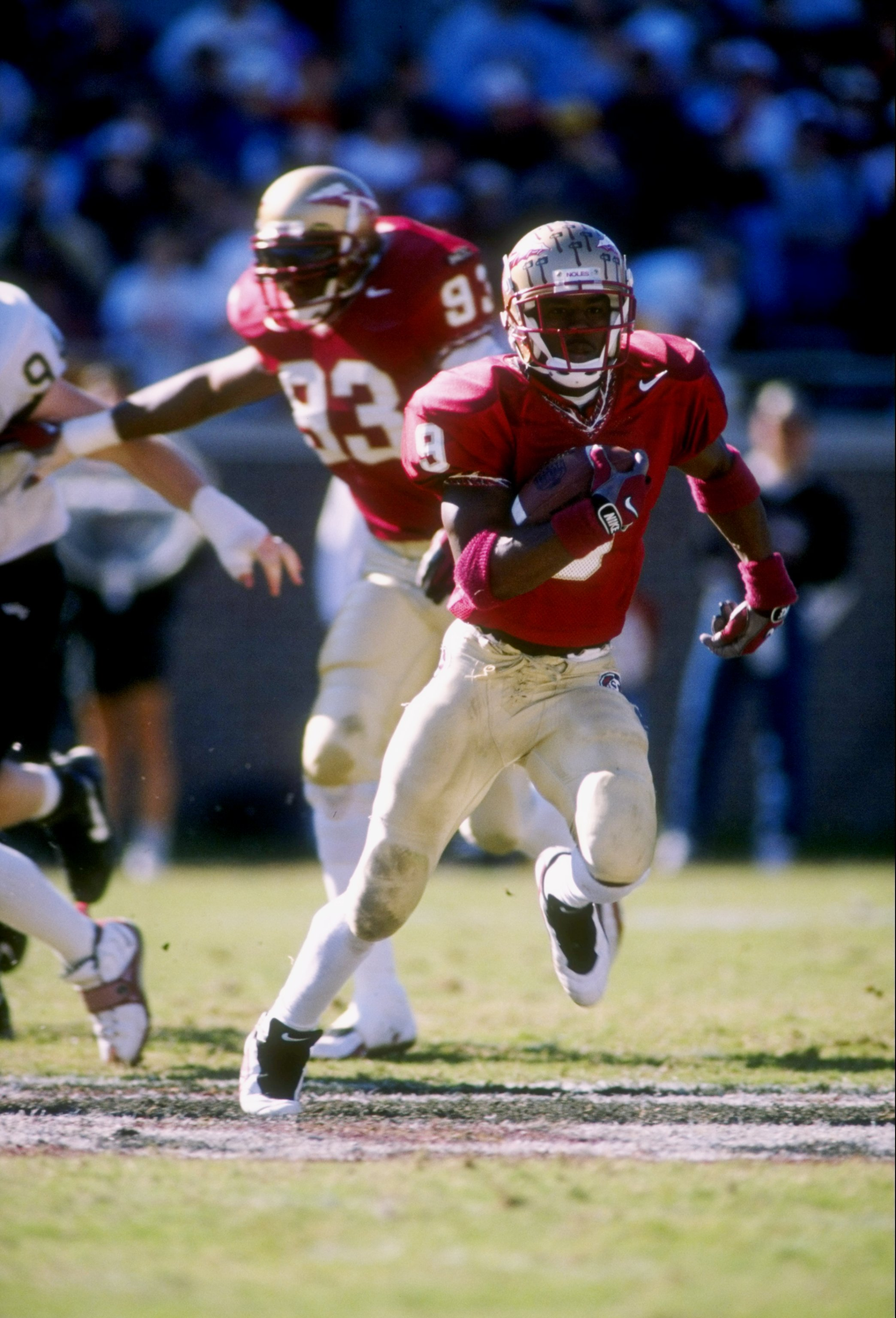 15 Nov 1997: Peter Warrick #9 of Florida State carries the football during the Seminoles 58-7 win over Wake Forest at Doak Campbell Stadium in Tallahassee, Florida.