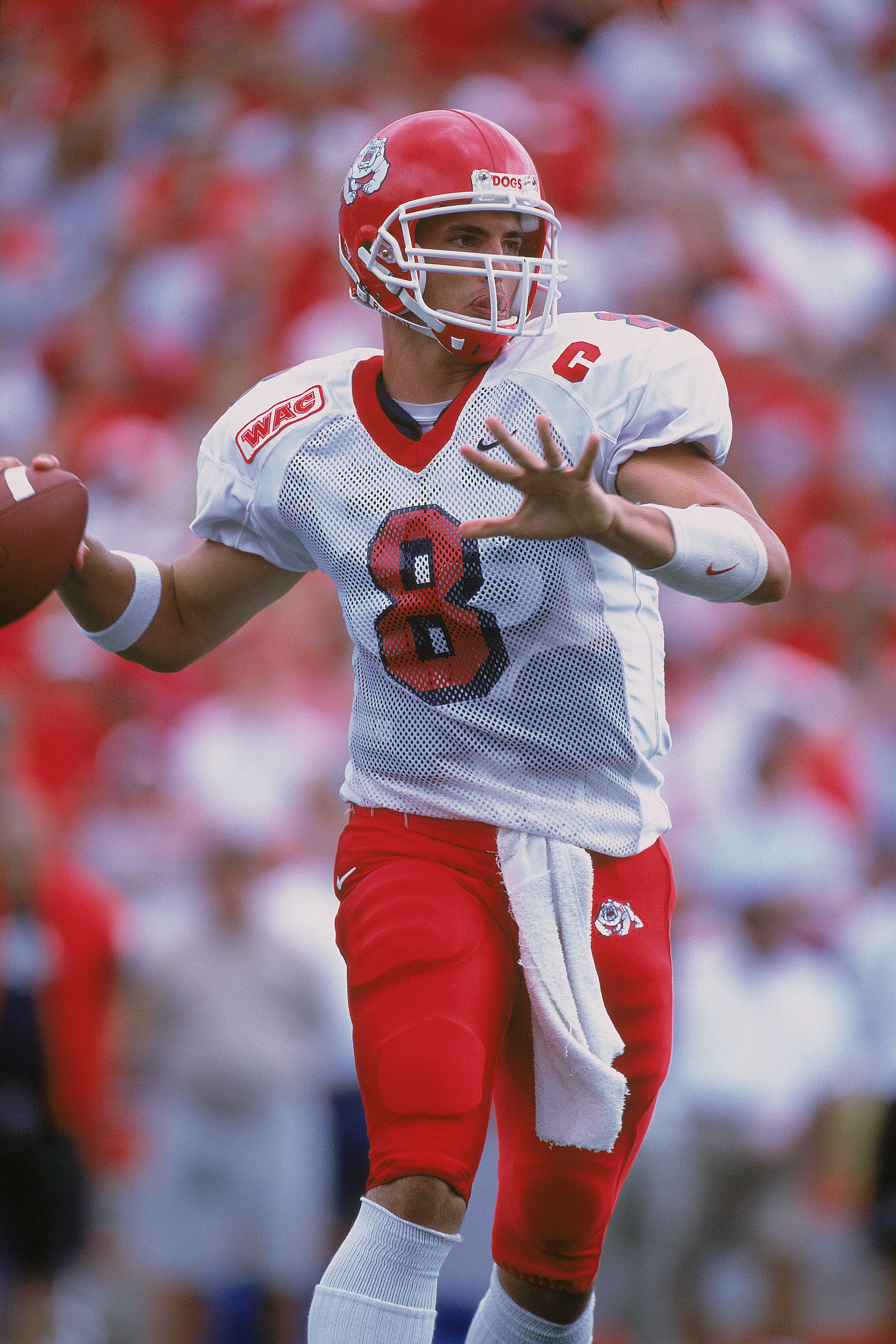 8 Sep 2001:  Quarterback David Carr #8 of the Fresno State Bull Dogs gets ready to pass the ball during the game against the Wisconsin Badgers at Camp Randall Stadium in Madison, Wisconsin. The Bull Dogs defeated the Badgers 32-20.Mandatory Credit: Jonath