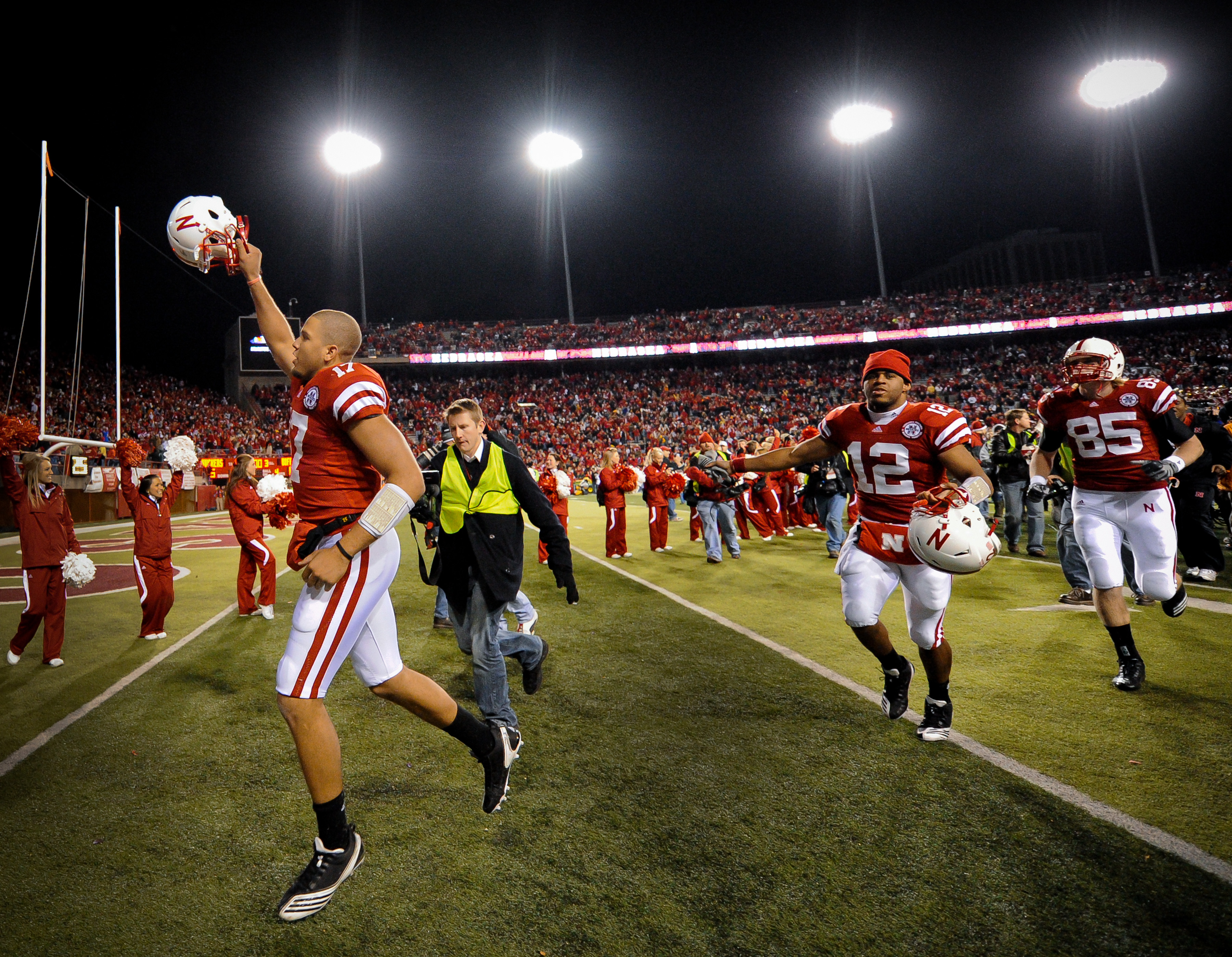 LINCOLN, NE - NOVEMBER 26: Cody Green #17 of the Nebraska Cornhuskers runs off the field after defeating the Colorado Buffalos at Memorial Stadium on November 26, 2010 in Lincoln, Nebraska. Nebraska defeated Colorado 45-17. (Photo by Eric Francis/Getty Im