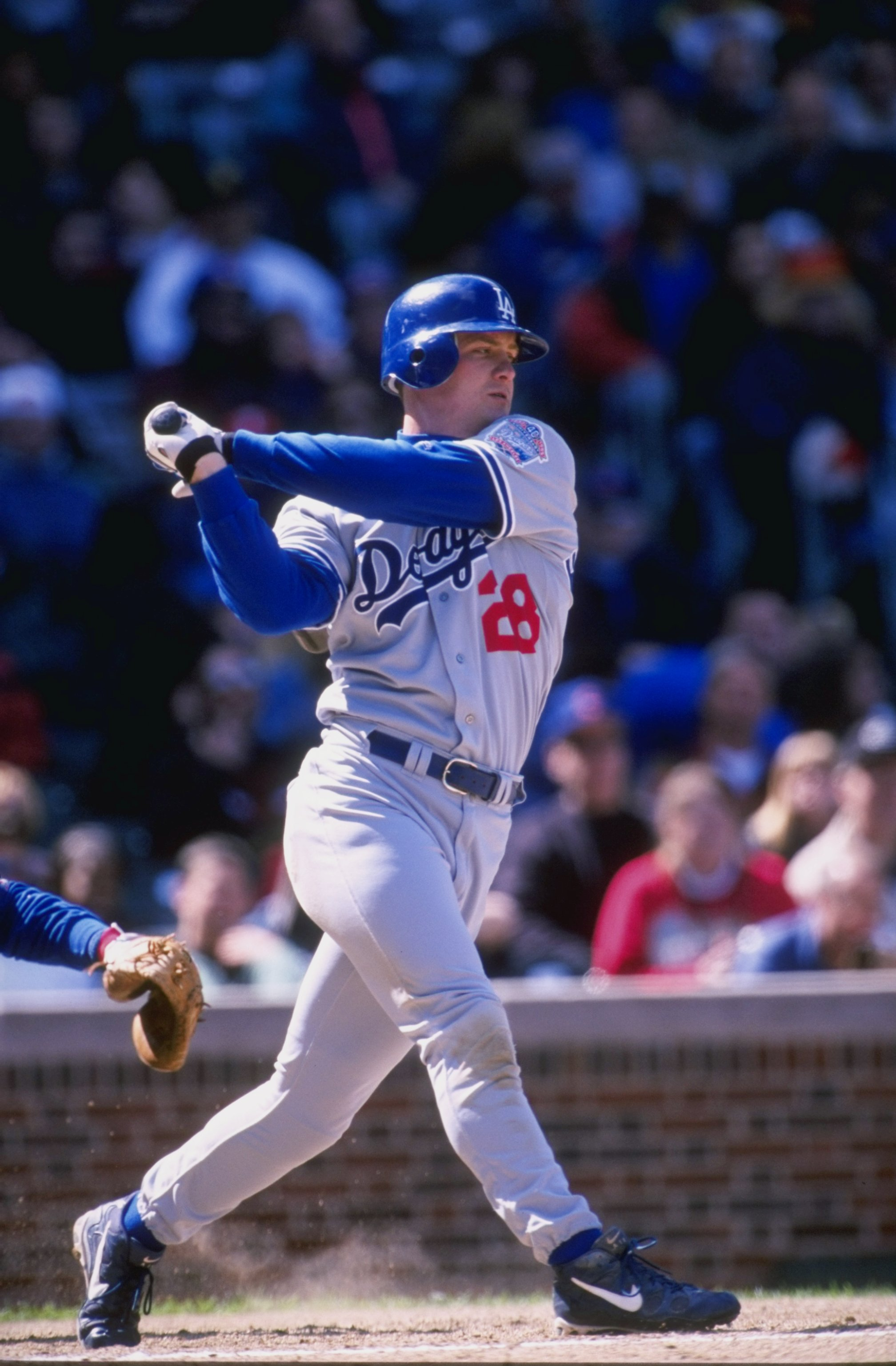 17 Apr 1998:  Outfielder Todd Hollandsworth of the Los Angeles Dodgers in action during a game against the Chicago Cubs at Wrigley Field in Chicago, Illinois. The Dodgers defeated the Cubs 10-3. Mandatory Credit: Harry How  /Allsport