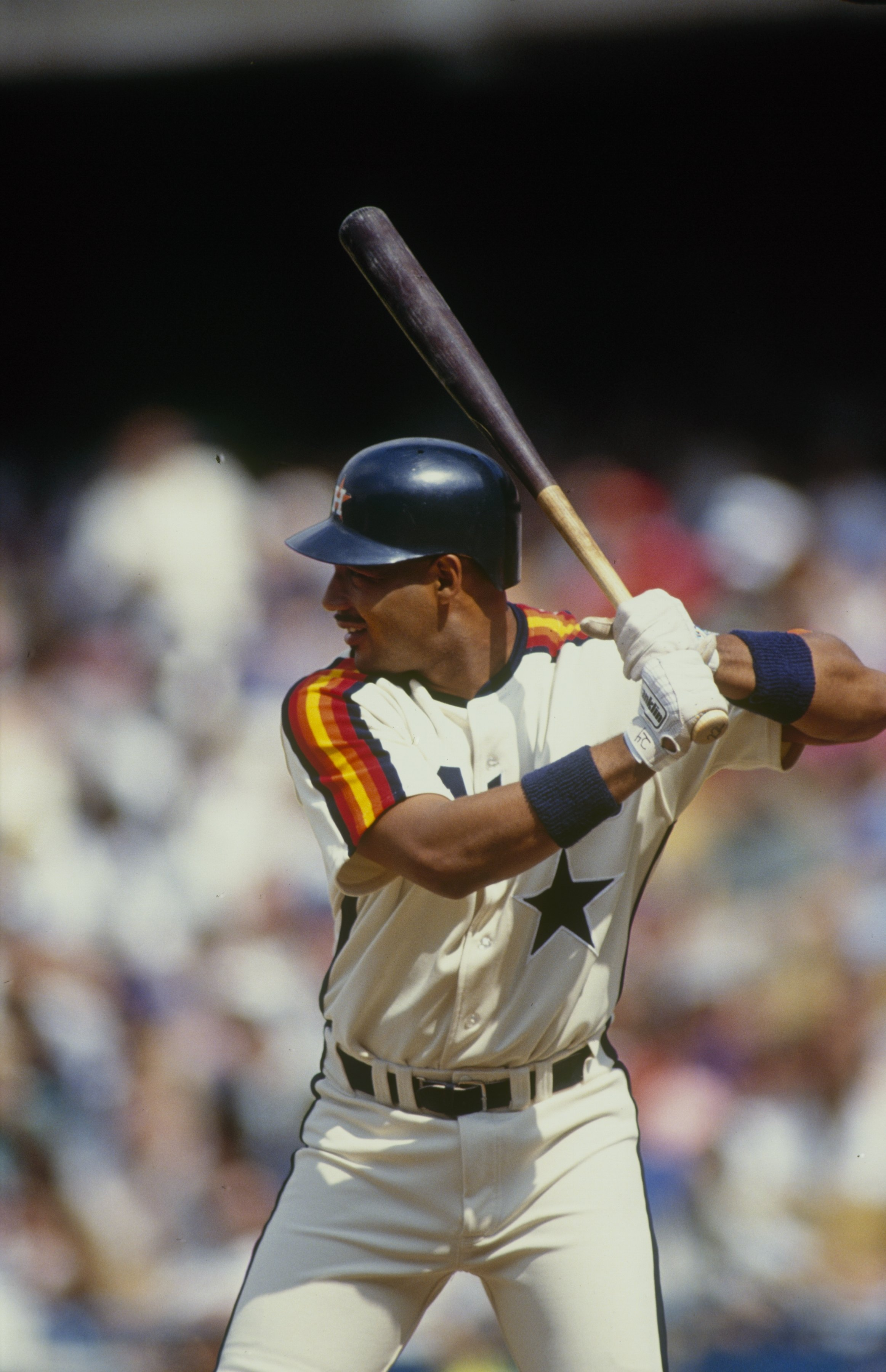 1990 - Franklin Stubbs #24 of the Houston Astros stands ready at bat during a 1990 season game. Franklin Stubbs played for the Astros in 1990. (Photo by: Getty Images)