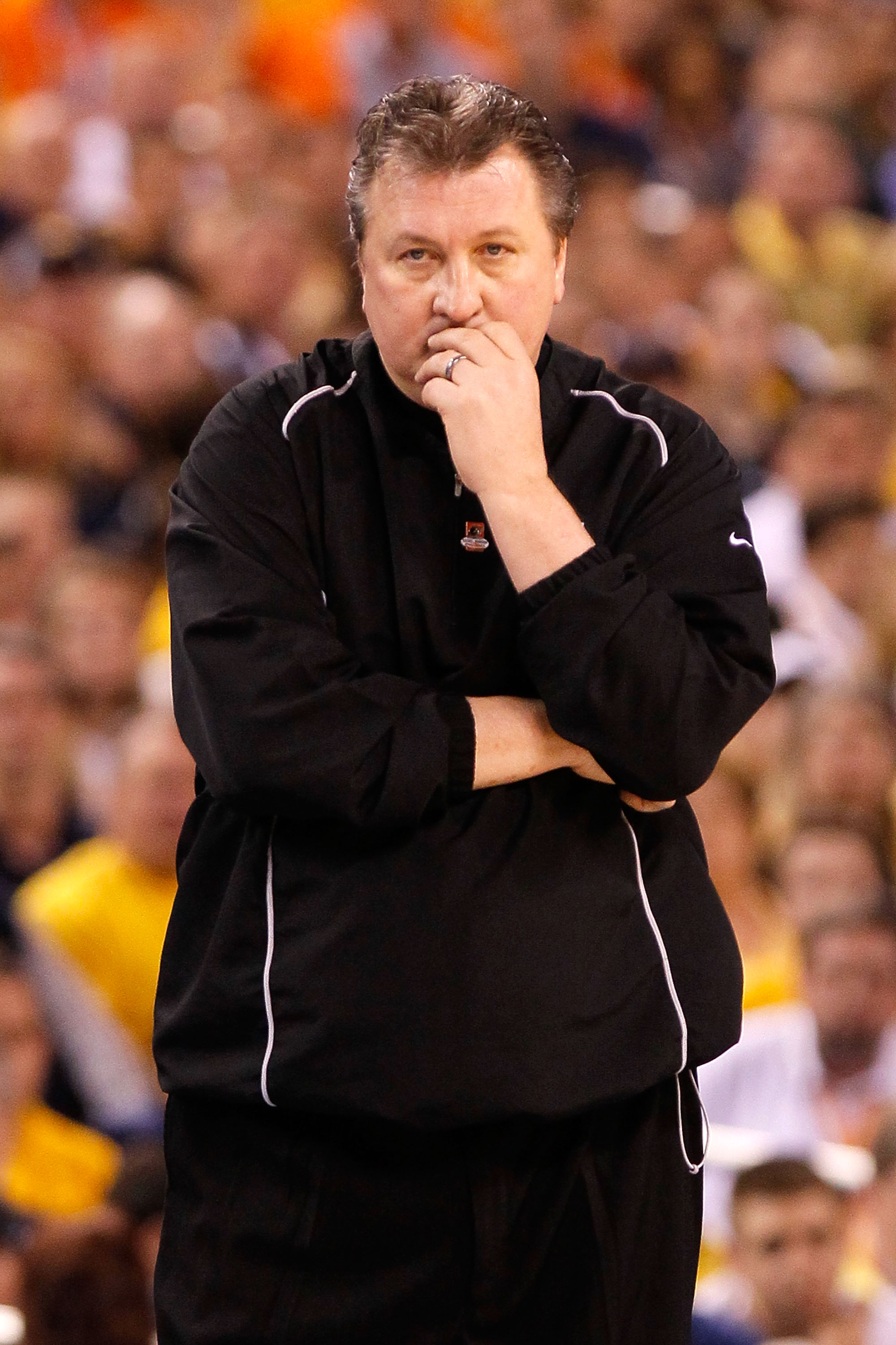INDIANAPOLIS - APRIL 03:  Head coach Bob Huggins of the West Virginia Mountaineers looks on while taking on the Duke Blue Devils during the National Semifinal game of the 2010 NCAA Division I Men's Basketball Championship at Lucas Oil Stadium on April 3,