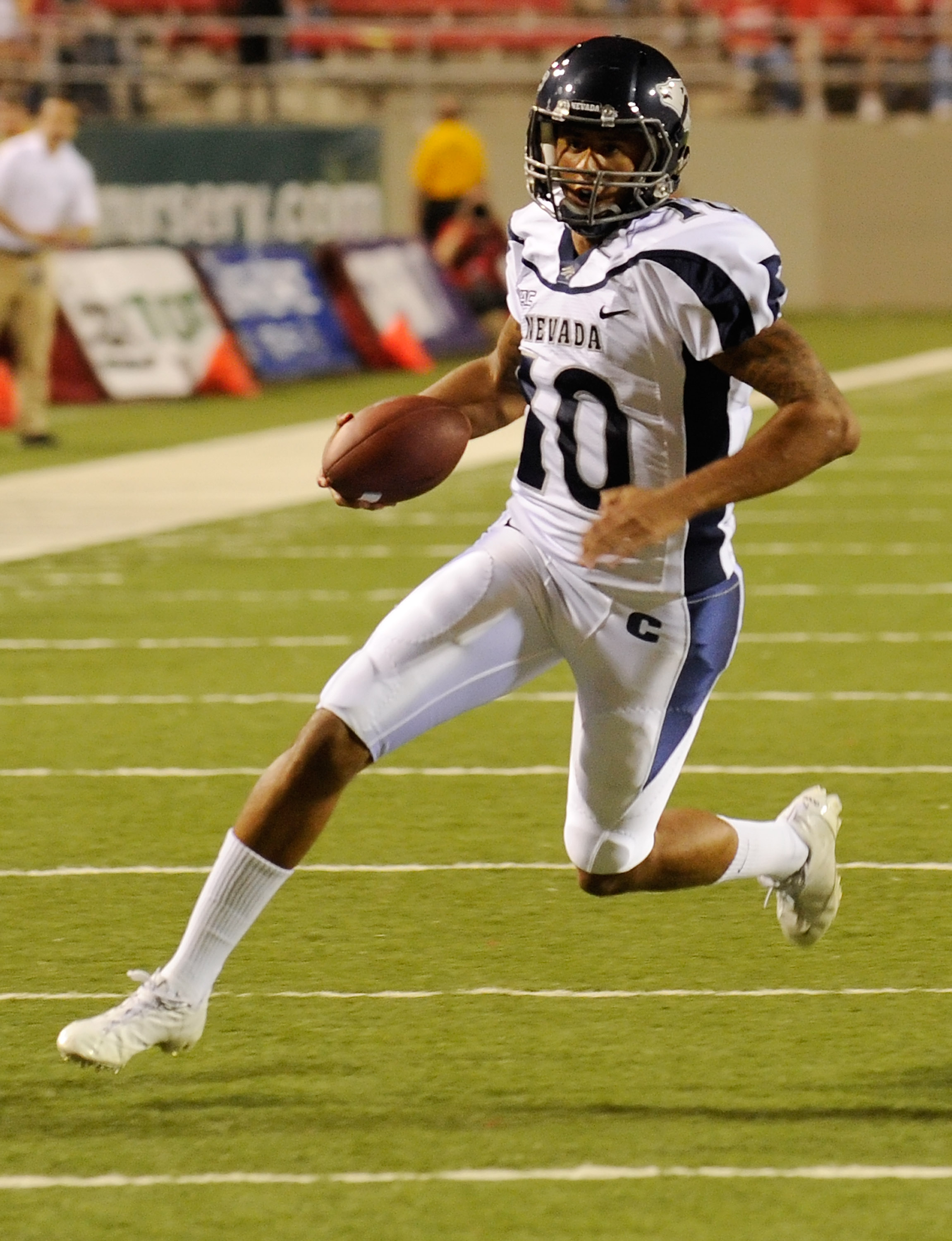 LAS VEGAS - OCTOBER 02:  Quarterback Colin Kaepernick #10 of the Nevada Reno Wolf Pack runs for a touchdown against the UNLV Rebels in the first quarter of their game at Sam Boyd Stadium October 2, 2010 in Las Vegas, Nevada. Nevada Reno won 44-26.  (Photo