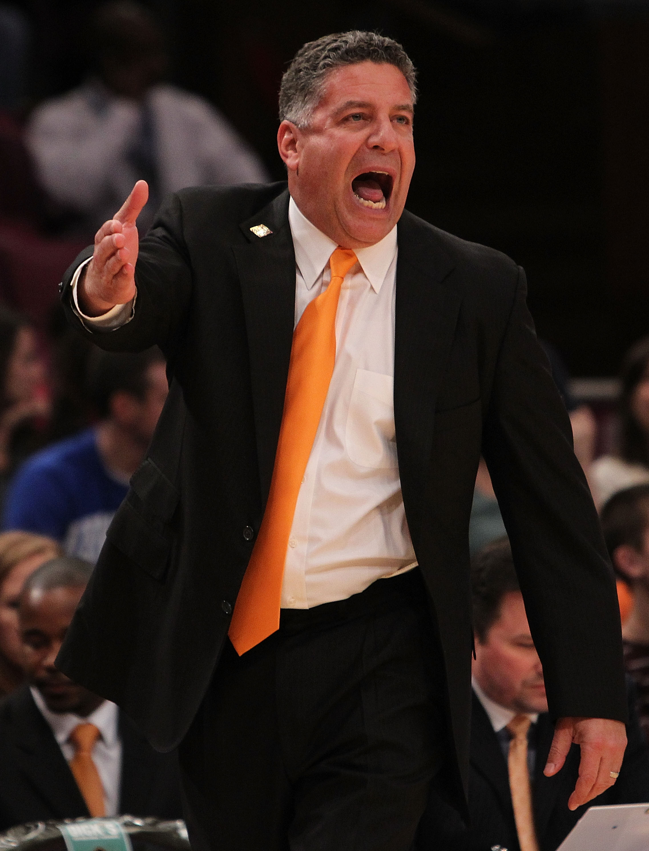 NEW YORK - NOVEMBER 24:  Head coach of the Tennessee Volunteers, Bruce Pearl looks on from the sideline against the Virginia Commonwealth Rams during their preseason NIT semifinal at Madison Square Garden on November 24, 2010 in New York City.  (Photo by