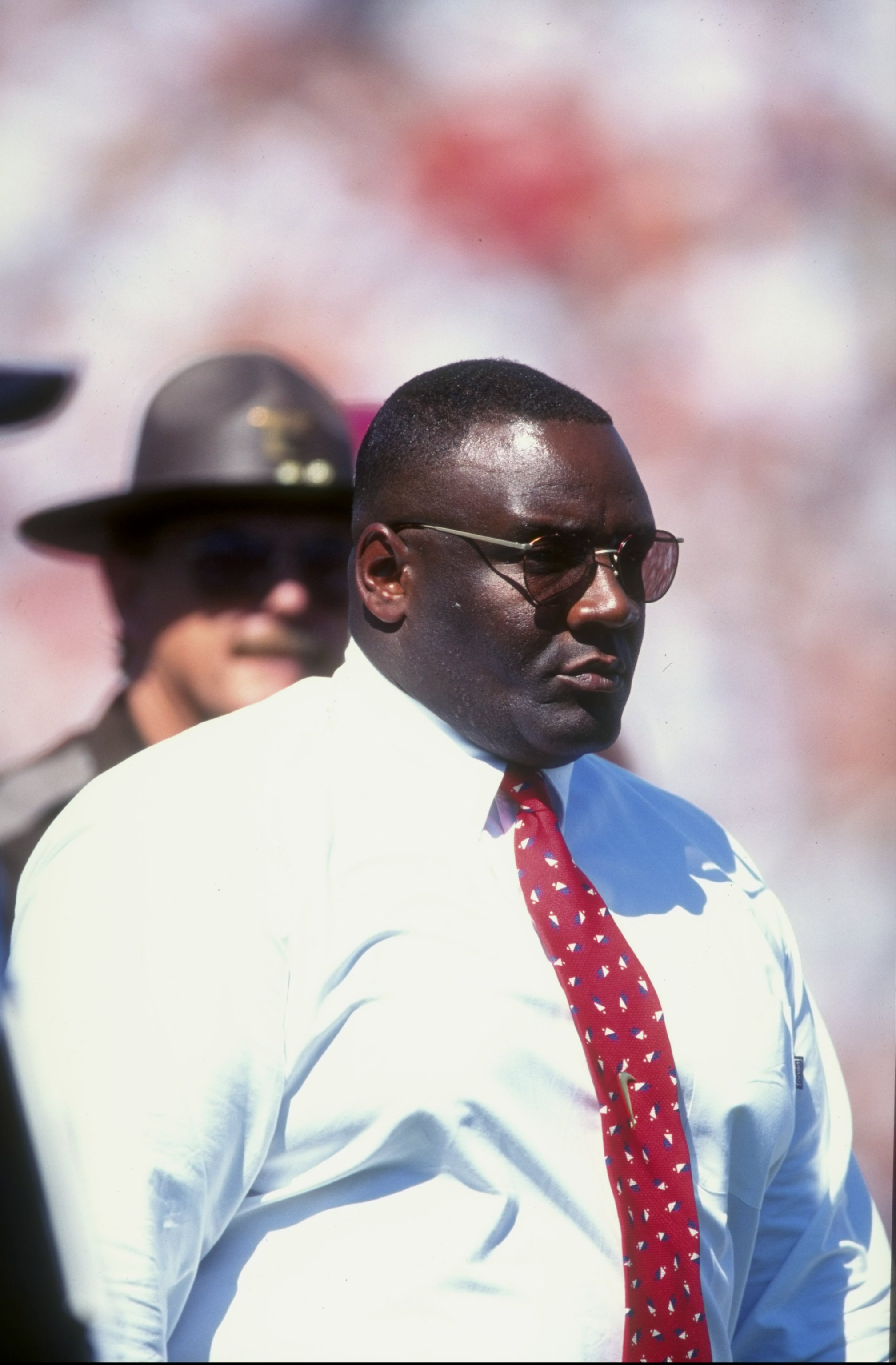 10 Oct 1998: Head coach John Blake of the Oklahoma Sooners looks on during the game against the Texas Longhorns at the Cotton Bowl in Dallas, Texas. The Longhorns defeated the Sooners 34-3.