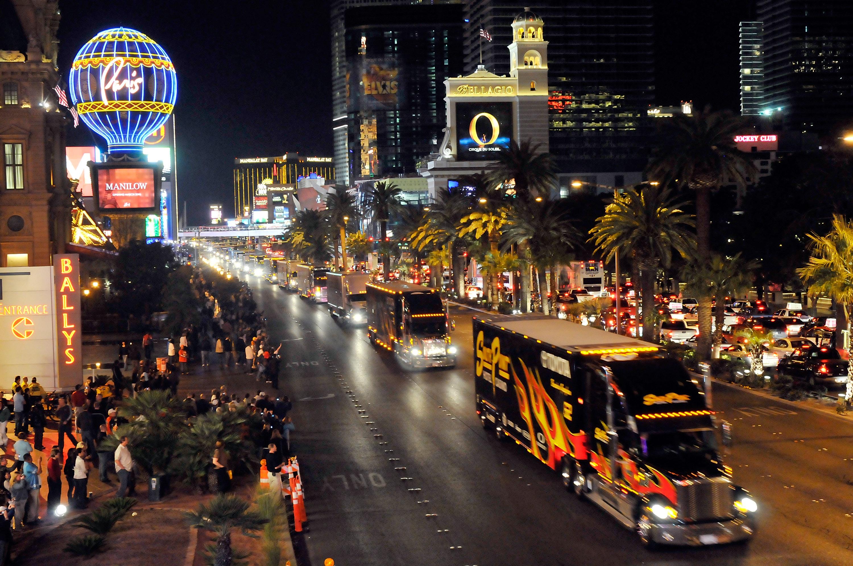 This photo of NASCAR hauler parade down Las Vegas Strip was shot from pedestrian bridge over Flamingo.