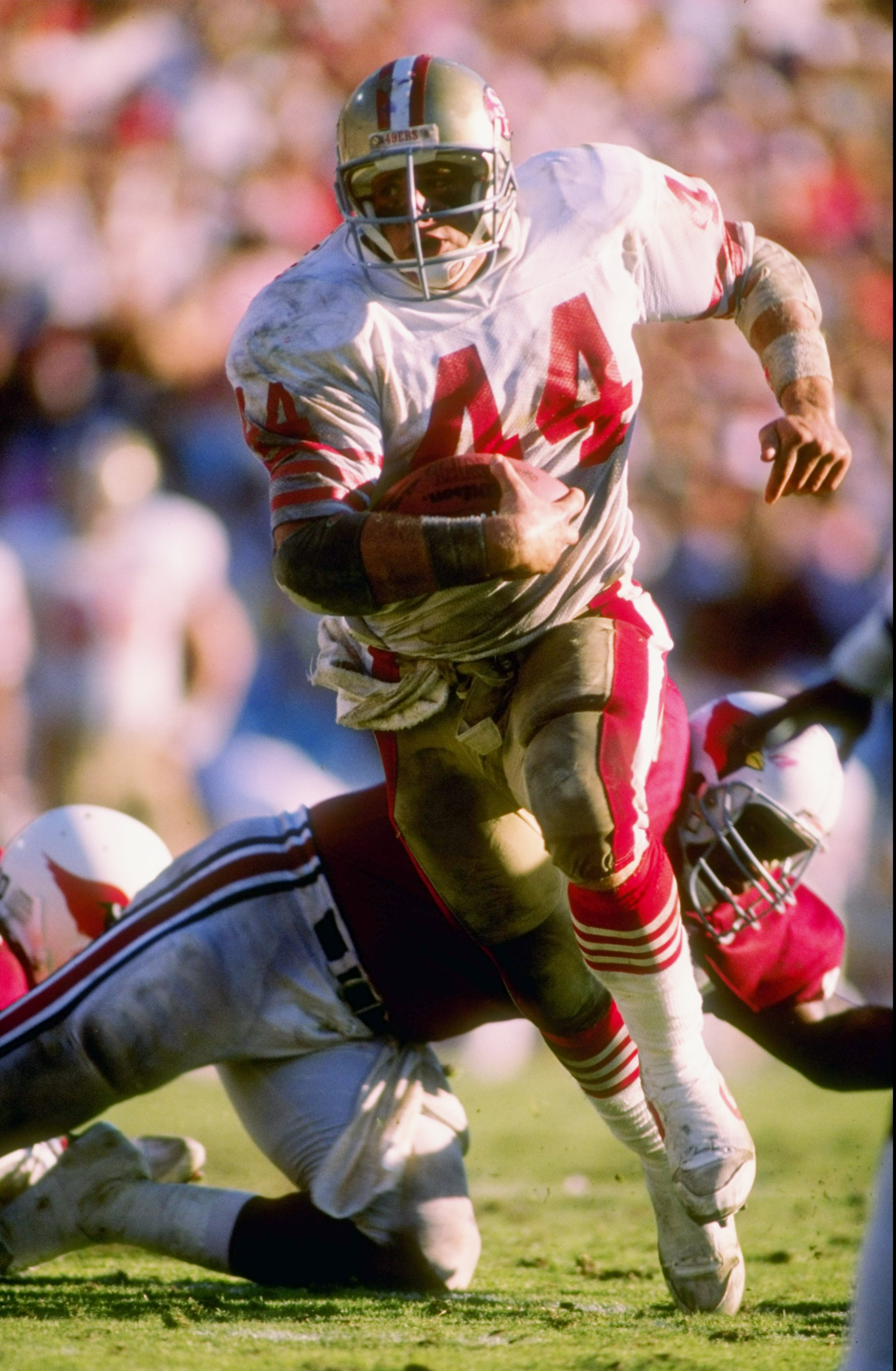 6 Nov 1988: Fullback Tom Rathman of the San Francisco 49ers runs down the field during a game against the Phoenix Cardinals at Sun Devil Stadium in Tempe, Arizona. The Cardinals won the game 24-23.