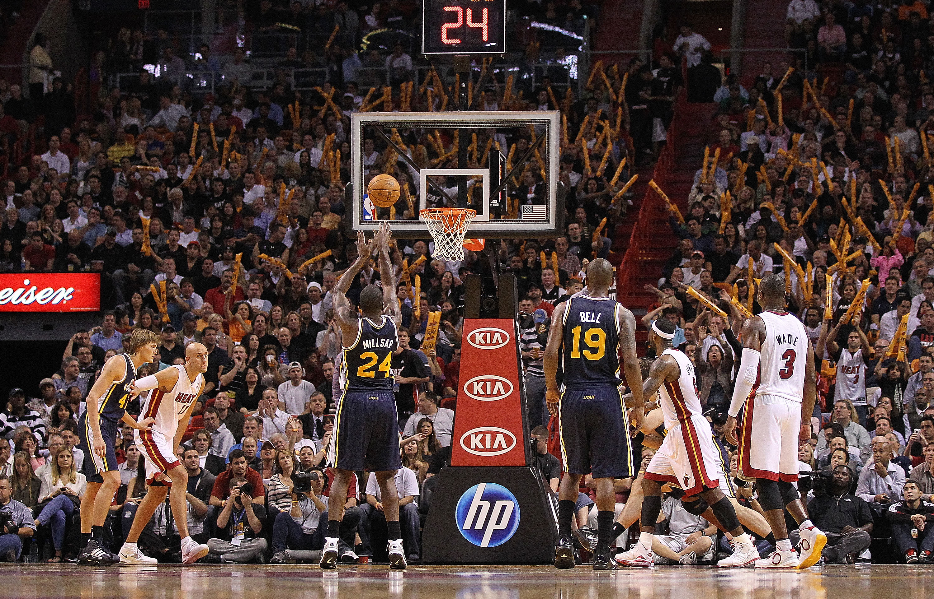 MIAMI - NOVEMBER 09:  Paul Millsap #24 of the Utah Jazz shoots a foul shot during a game against the Miami Heat at American Airlines Arena on November 9, 2010 in Miami, Florida. NOTE TO USER: User expressly acknowledges and agrees that, by downloading and