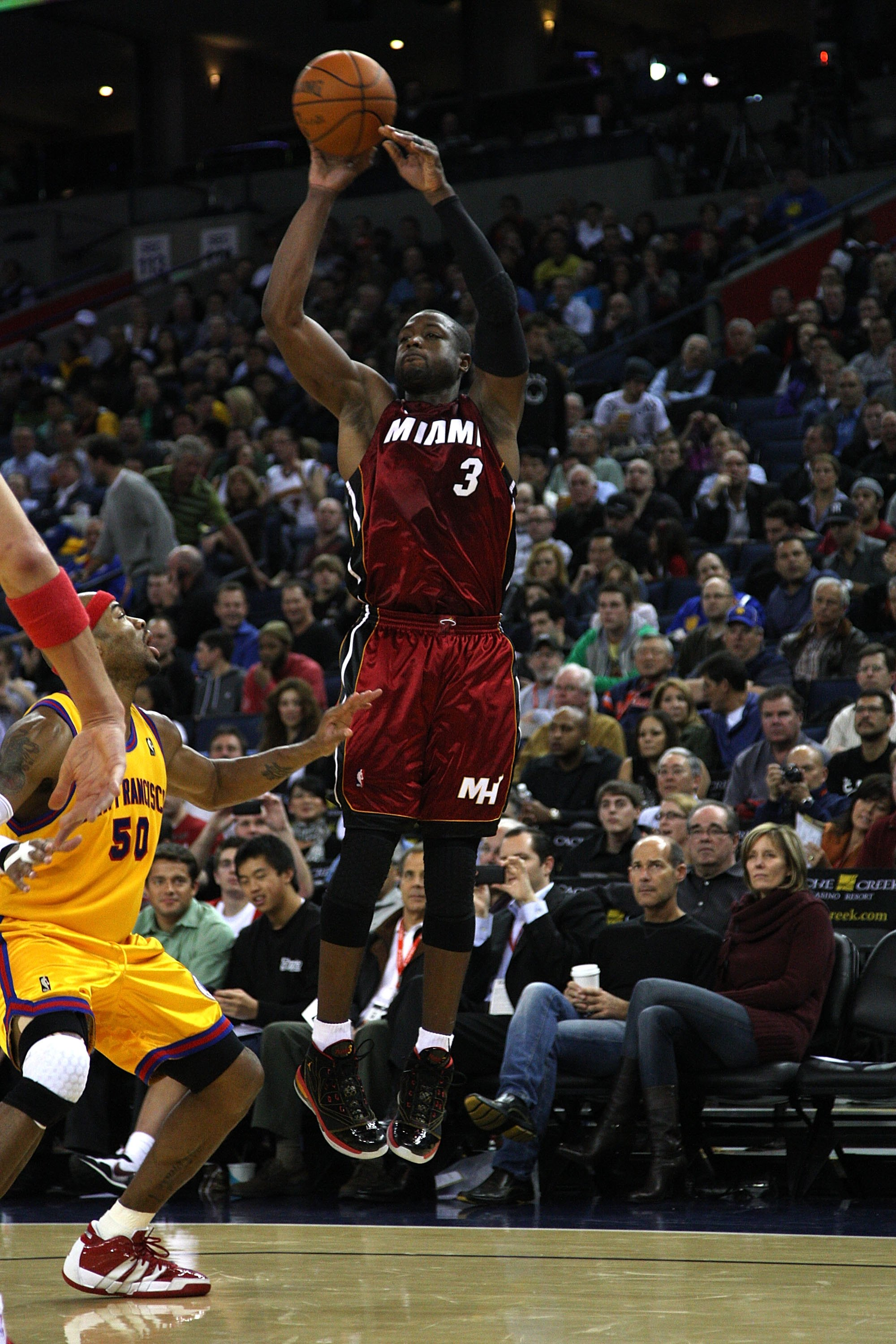 OAKLAND, CA - JANUARY 13:  Dwayne Wade #3 of the Miami Heat in action against the Golden State Warriors during an NBA game at Oracle Arena at Oracle Arena on January 13, 2010 in Oakland, California.  NOTE TO USER: User expressly acknowledges and agrees th