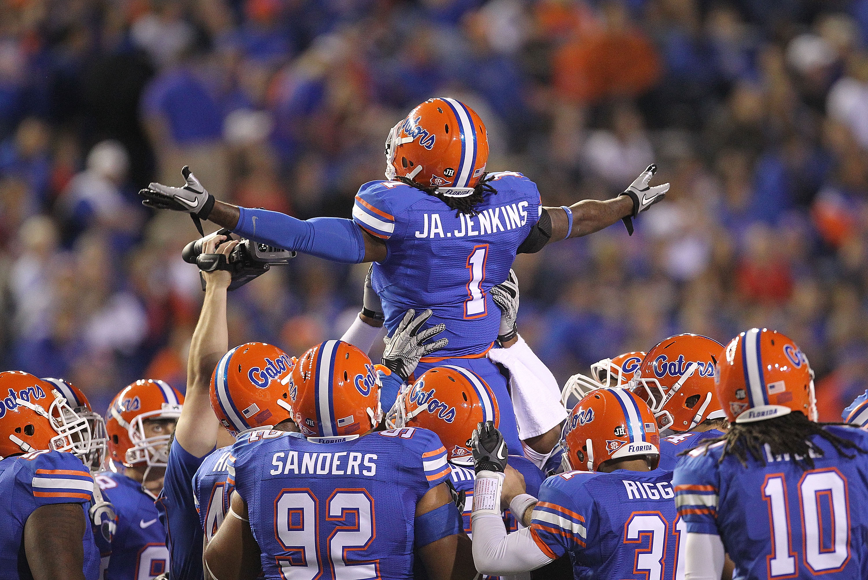 GAINESVILLE, FL - NOVEMBER 13: Janoris Jenkins #1 of the Florida Gators gets the crowd up during a game against the South Carolina Gamecocks at Ben Hill Griffin Stadium on November 13, 2010 in Gainesville, Florida.  (Photo by Mike Ehrmann/Getty Images)