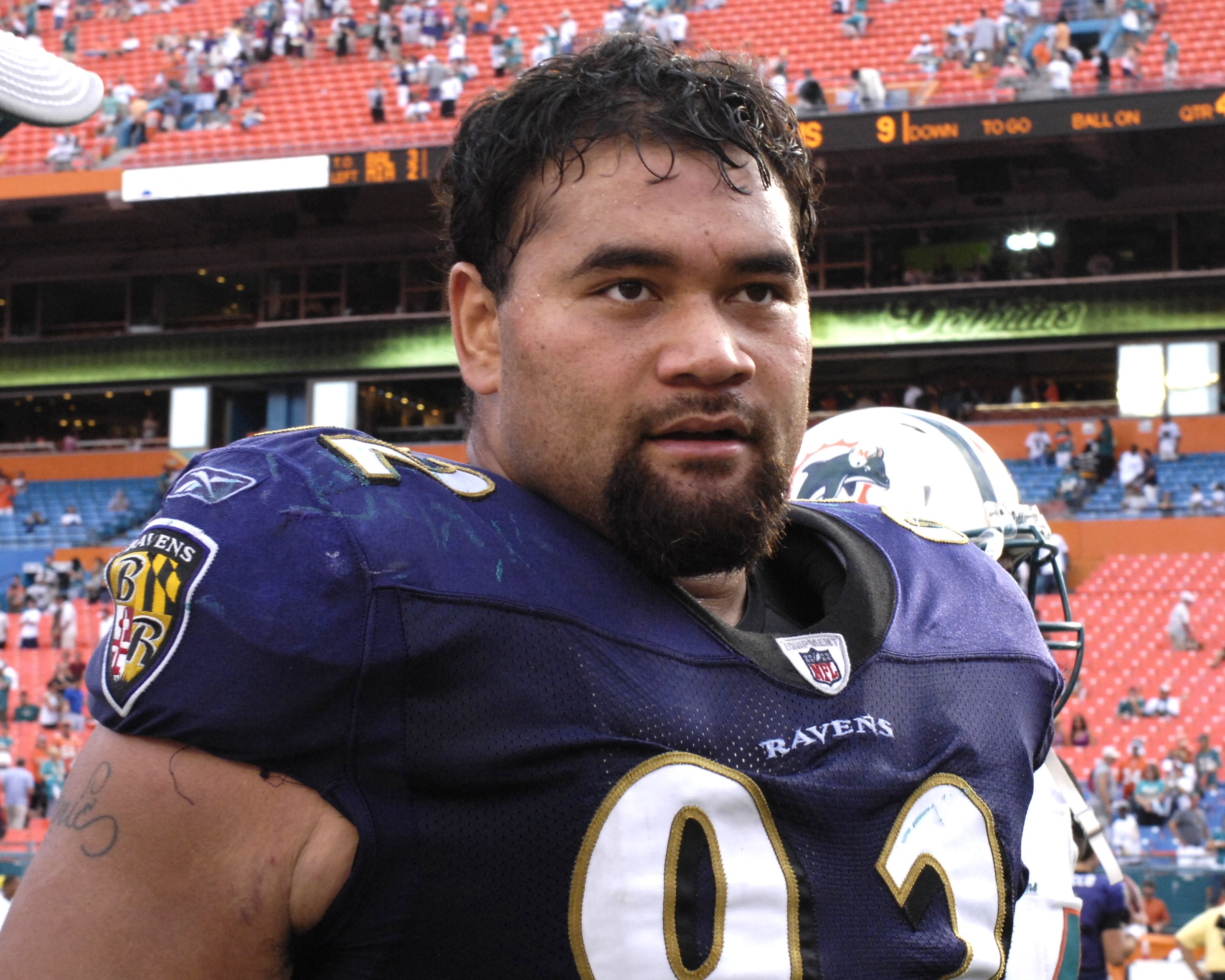 MIAMI, FL - JANUARY 4:  Nose tackle Haloti Ngata #92 of the Baltimore Ravens leaves the field after play against the Miami Dolphins in an NFL Wildcard Playoff Game at Dolphins Stadium on January 4, 2009 in Miami, Florida.  (Photo by Al Messerschmidt/Getty