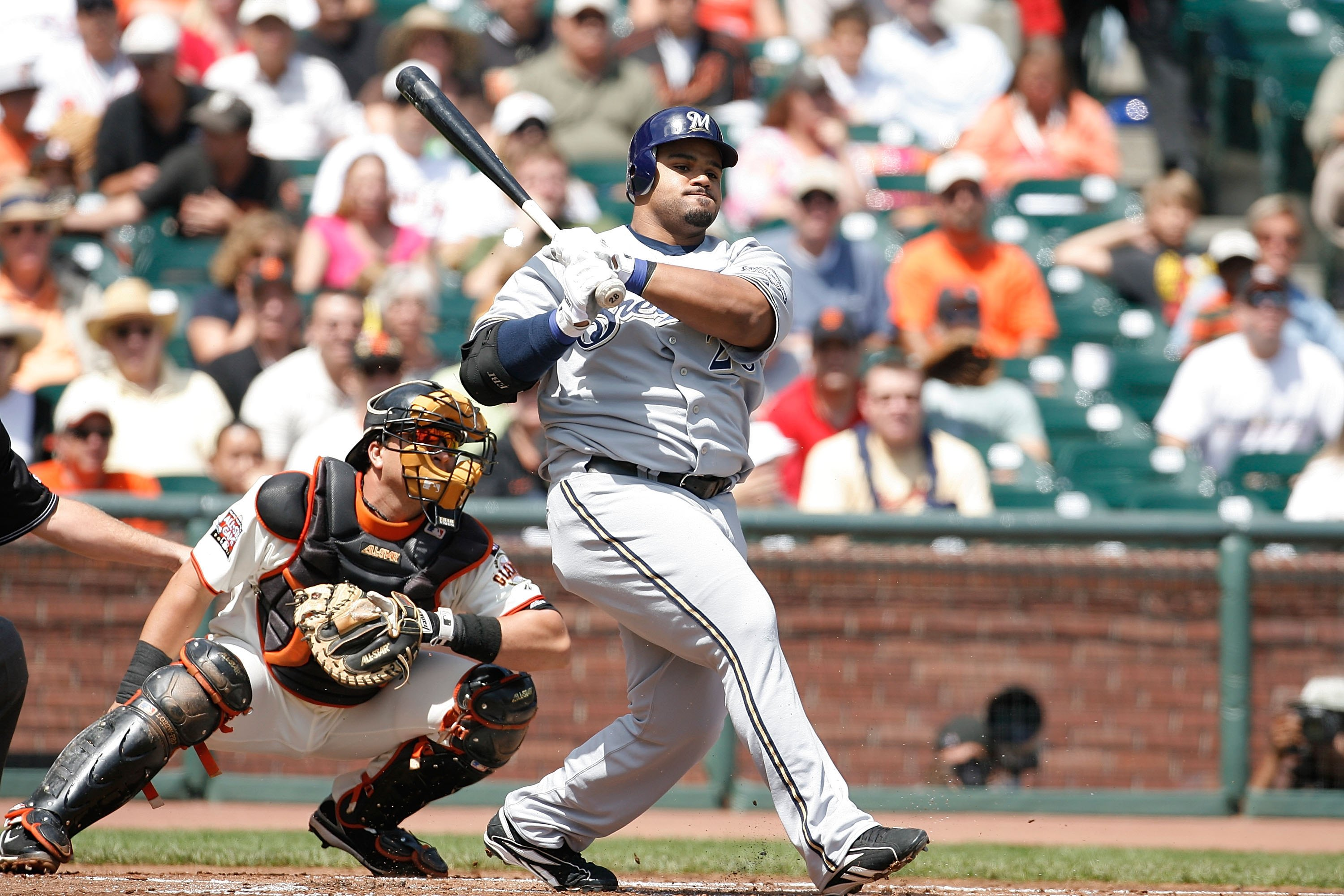SAN FRANCISCO - AUGUST 26: First baseman Prince Fielder #28 of the Milwaukee Brewers bats during a Major League Baseball game against the San Francisco Giants on August 26, 2007 at AT&T Park in San Francisco, California. (Greg Trott/Getty Images)