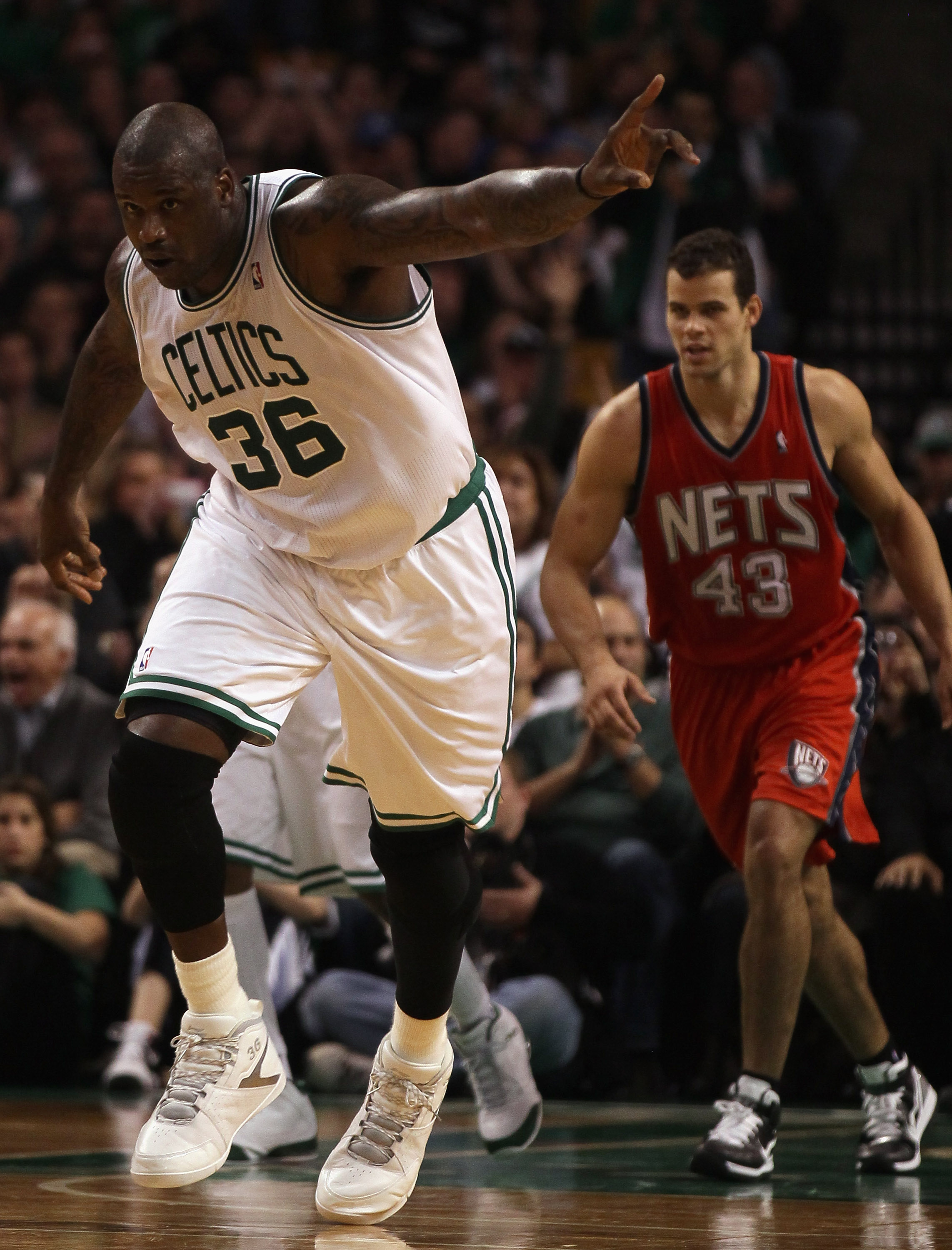 BOSTON - NOVEMBER 24:  Shaquille O'Neal #36 of the Boston Celtics celebrates his basket in the fourth quarter against the New Jersey Nets on November 24, 2010 at the TD Garden in Boston, Massachusetts. The Celtics defeated the nets 89-83. NOTE TO USER: Us
