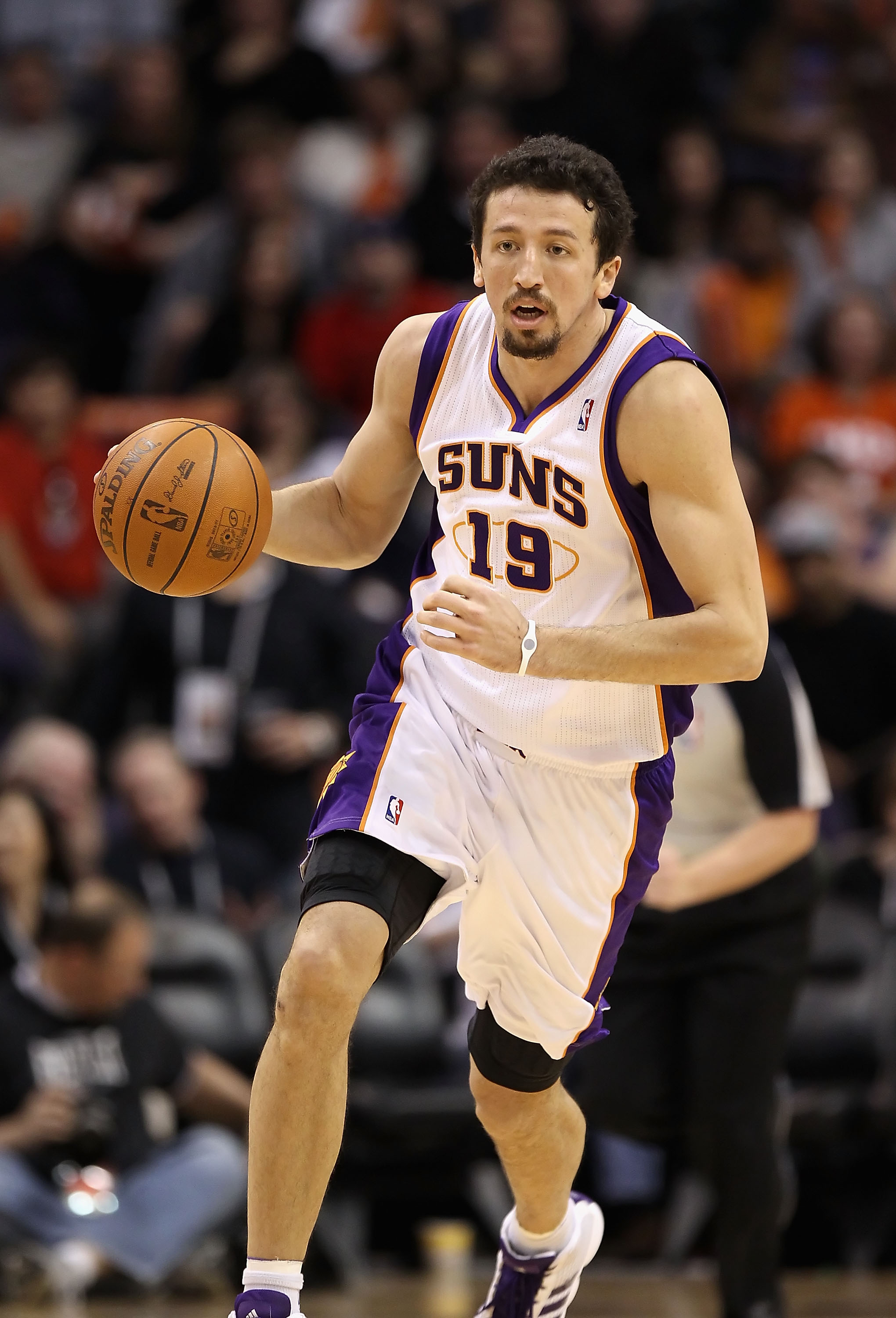 PHOENIX - NOVEMBER 24:  Hedo Turkoglu #19 of the Phoenix Suns handles the ball during the NBA game against the Chicago Bulls at US Airways Center on November 24, 2010 in Phoenix, Arizona. The Bulls defeated the Suns 123-115 in double overtime. NOTE TO USE
