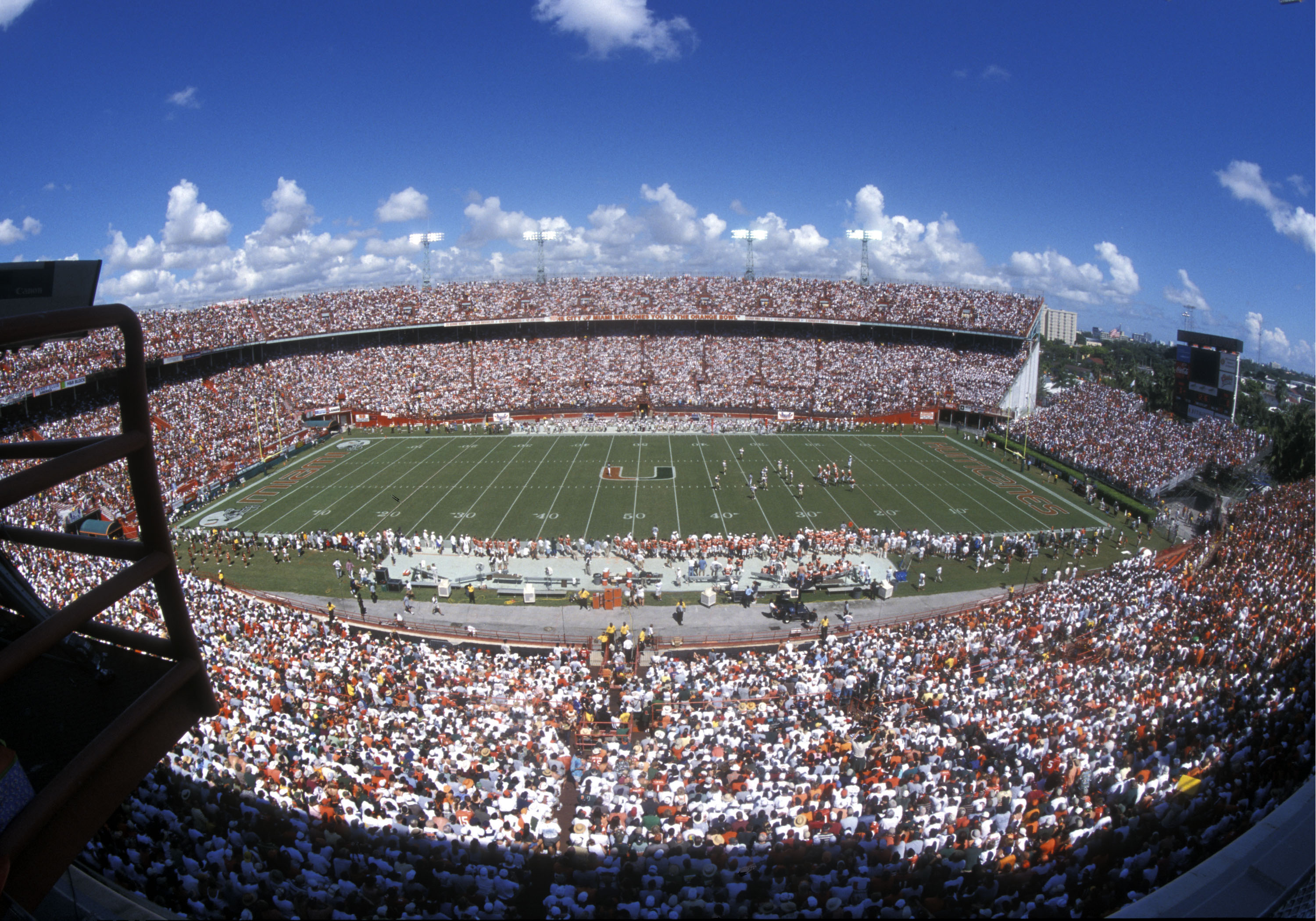 The historic Orange Bowl in Miami is the site of the University of Miami versus Florida State football game, October 12, 2002.  (Photo by Al Messerschmidt/Getty Images)
