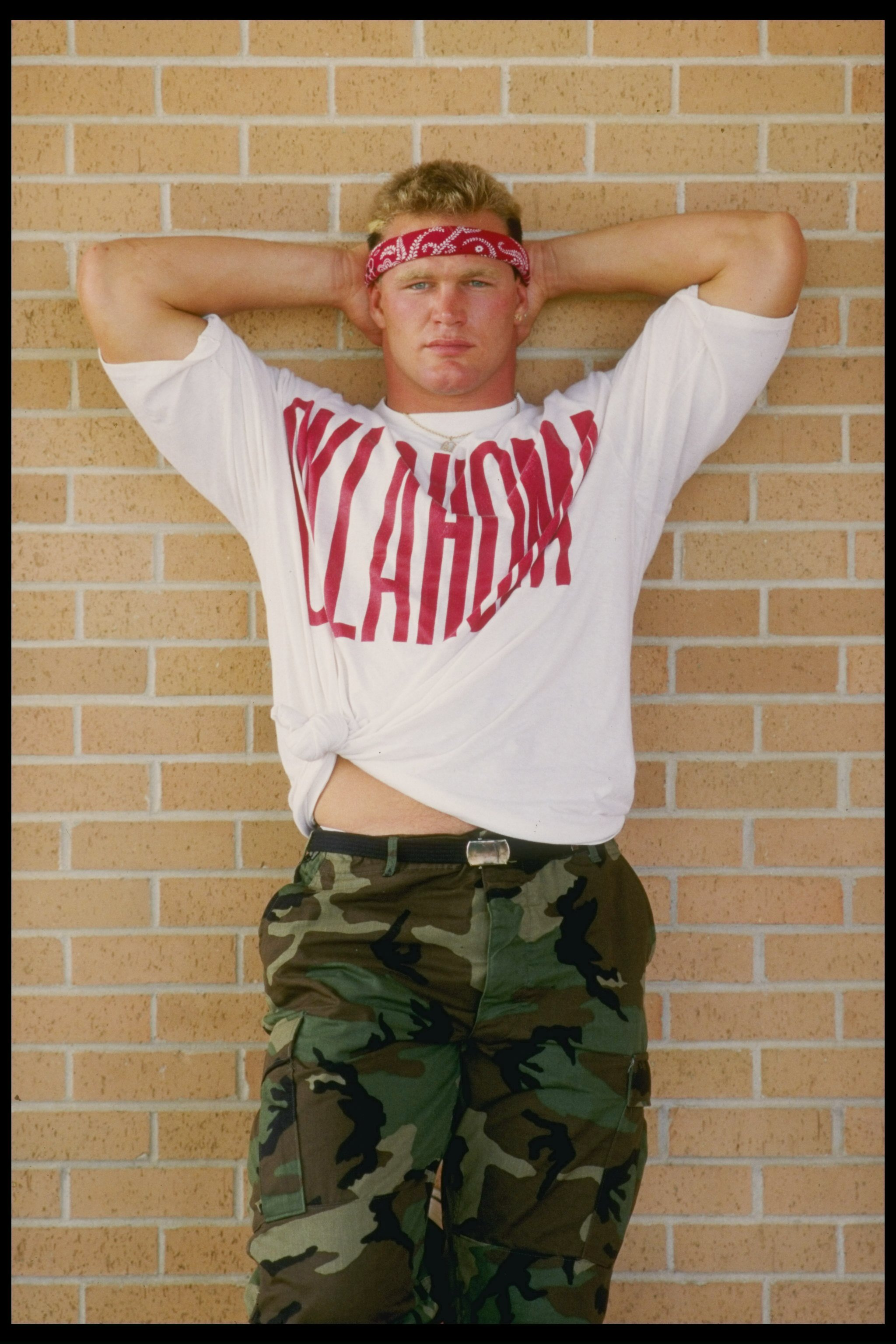 1986:  Linebacker Brian Bosworth of the University of Oklahoma during a photo shoot at the University campas in Norman, Oklahoma. Mandatory Credit: Chris Cole  /Allsport