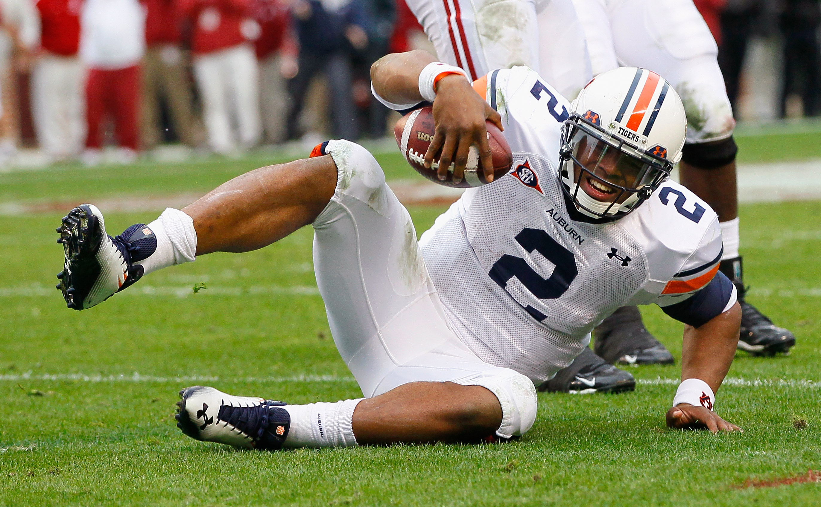 TUSCALOOSA, AL - NOVEMBER 26:  Quarterback Cam Newton #2 of the Auburn Tigers reacts after failing to convert a third down against the Alabama Crimson Tide at Bryant-Denny Stadium on November 26, 2010 in Tuscaloosa, Alabama.  (Photo by Kevin C. Cox/Getty