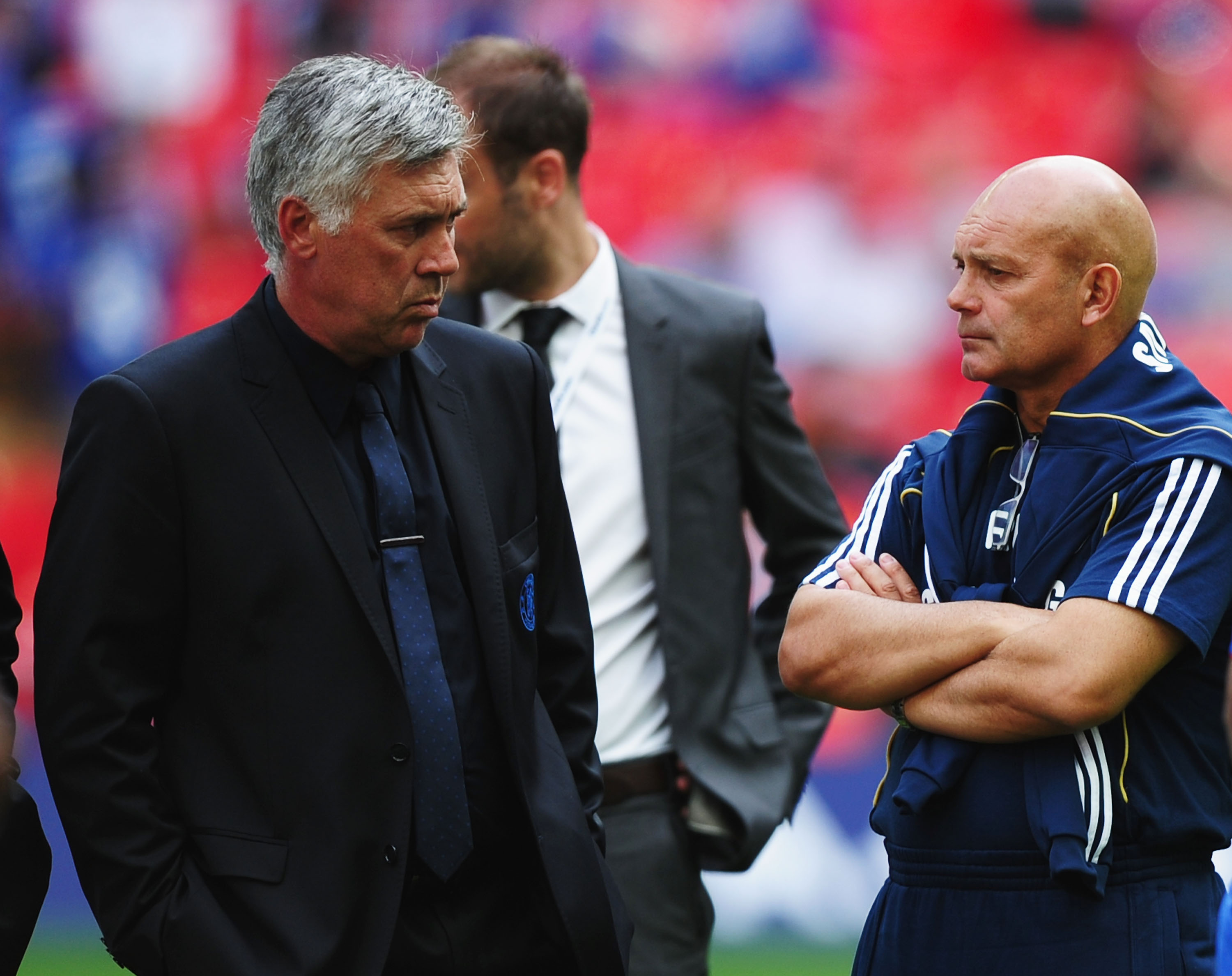 LONDON, ENGLAND - AUGUST 08:  Chelsea manager Carlo Ancelotti with assistant manager Ray Wilkins (R) after the FA Community Shield match between Chelsea and Manchester United at Wembley Stadium on August 8, 2010 in London, England.  (Photo by Laurence Gri