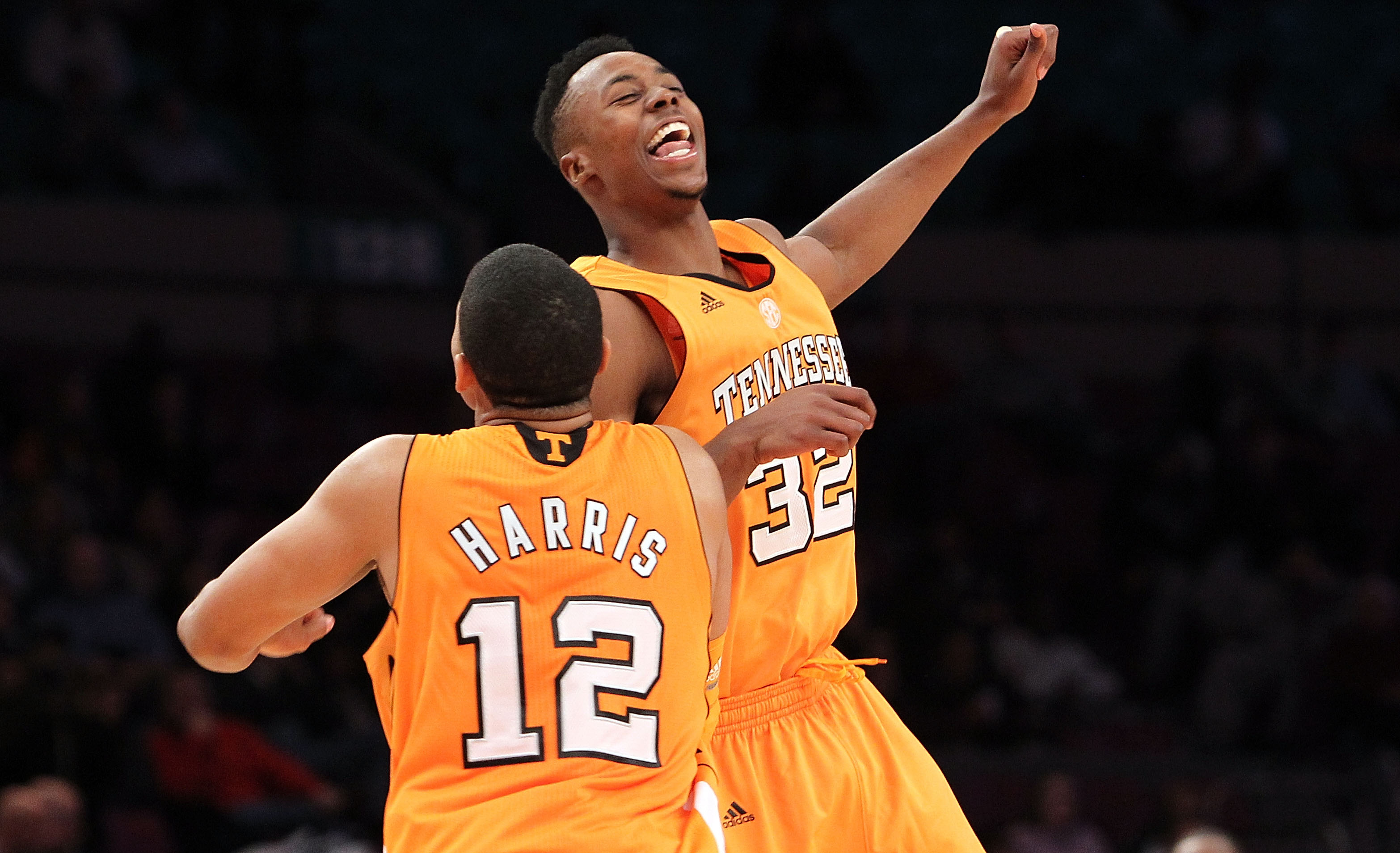 NEW YORK - NOVEMBER 26:  Tobias Harris #12 of the Tennessee Volunteers celebrates a basket with teammate Scotty Hopson #32 against the Villanova Wildcats  during the Championship game at Madison Square Garden on November 26, 2010 in New York City.  (Photo