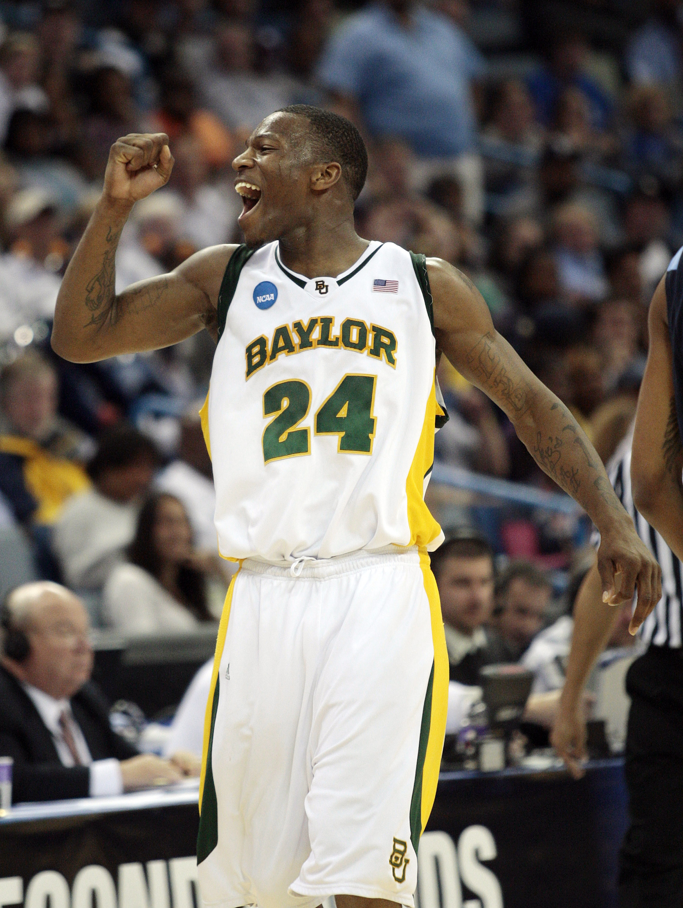 NEW ORLEANS - MARCH 20:  LaceDarius Dunn #24 of the Baylor Bears reacts after scoring against the Old Dominion Monarchs during the second round of the 2010 NCAA men's basketball tournament at the New Orleans Arena on March 20, 2010 in New Orleans, Louisia