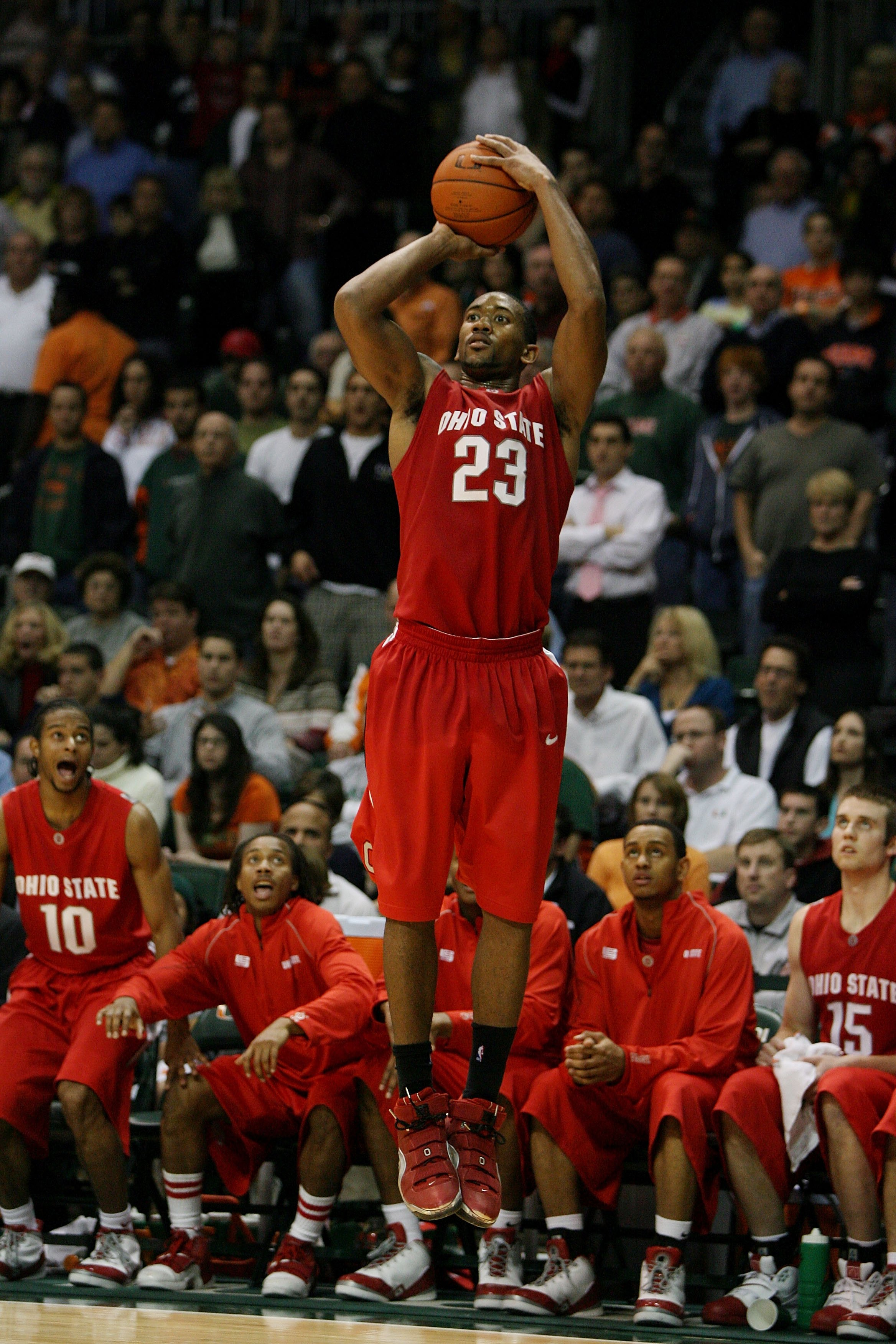 CORAL GABLES, FL - DECEMBER 02:  David Lighty #23 of the Ohio State Buckeyes shoots against the Miami Hurricanes at BankUnited Center on December 2, 2008 in Coral Gables, Florida. Ohio State defeated Miami 73-68.  (Photo by Doug Benc/Getty Images)