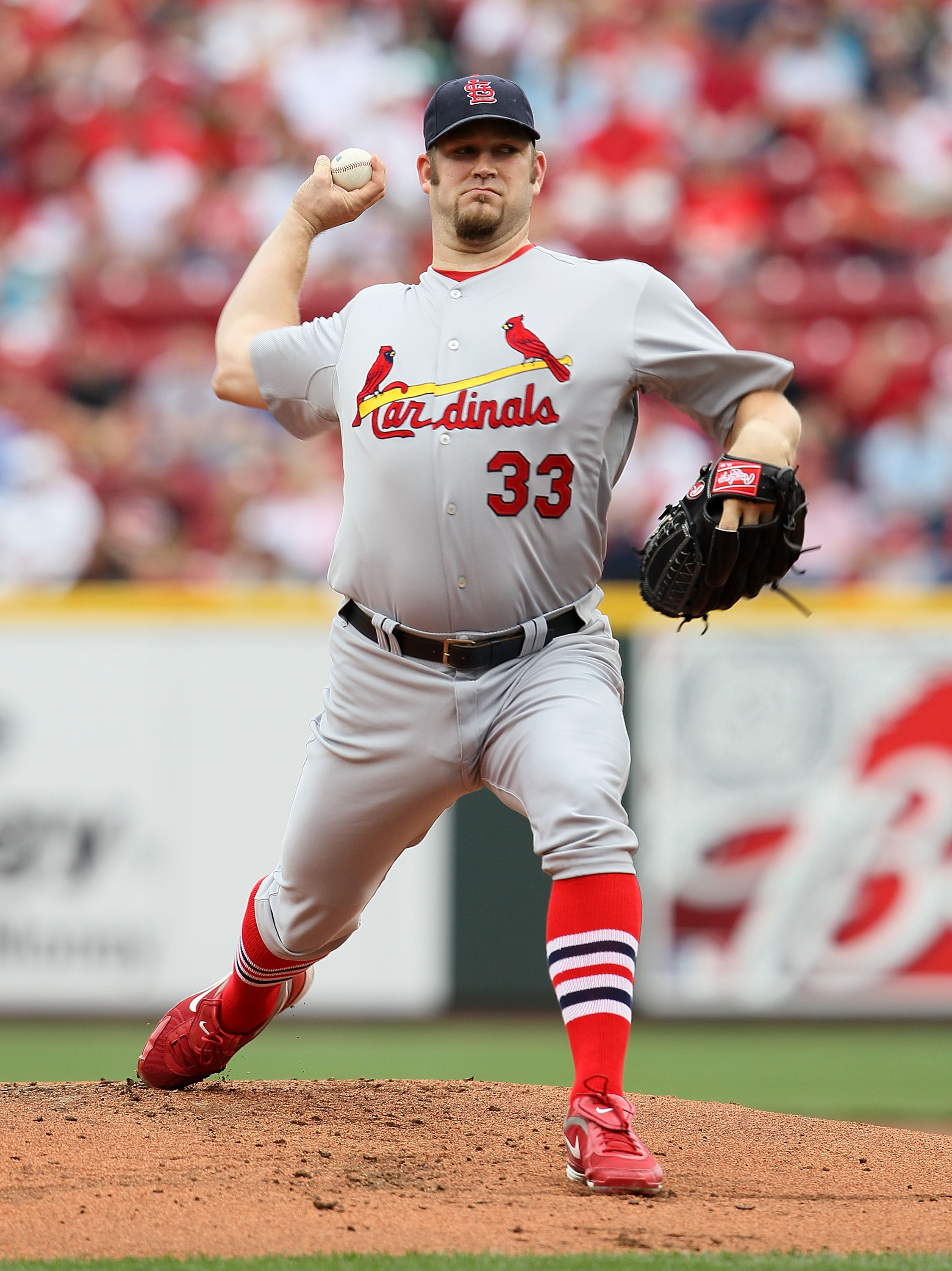 CINCINNATI - MAY 16:  Brad Penny #33 of the St. Louis Cardinals throws a pitch during the game against the Cincinnati Reds at Great American Ball Park on May 16, 2010 in Cincinnati, Ohio.  (Photo by Andy Lyons/Getty Images)