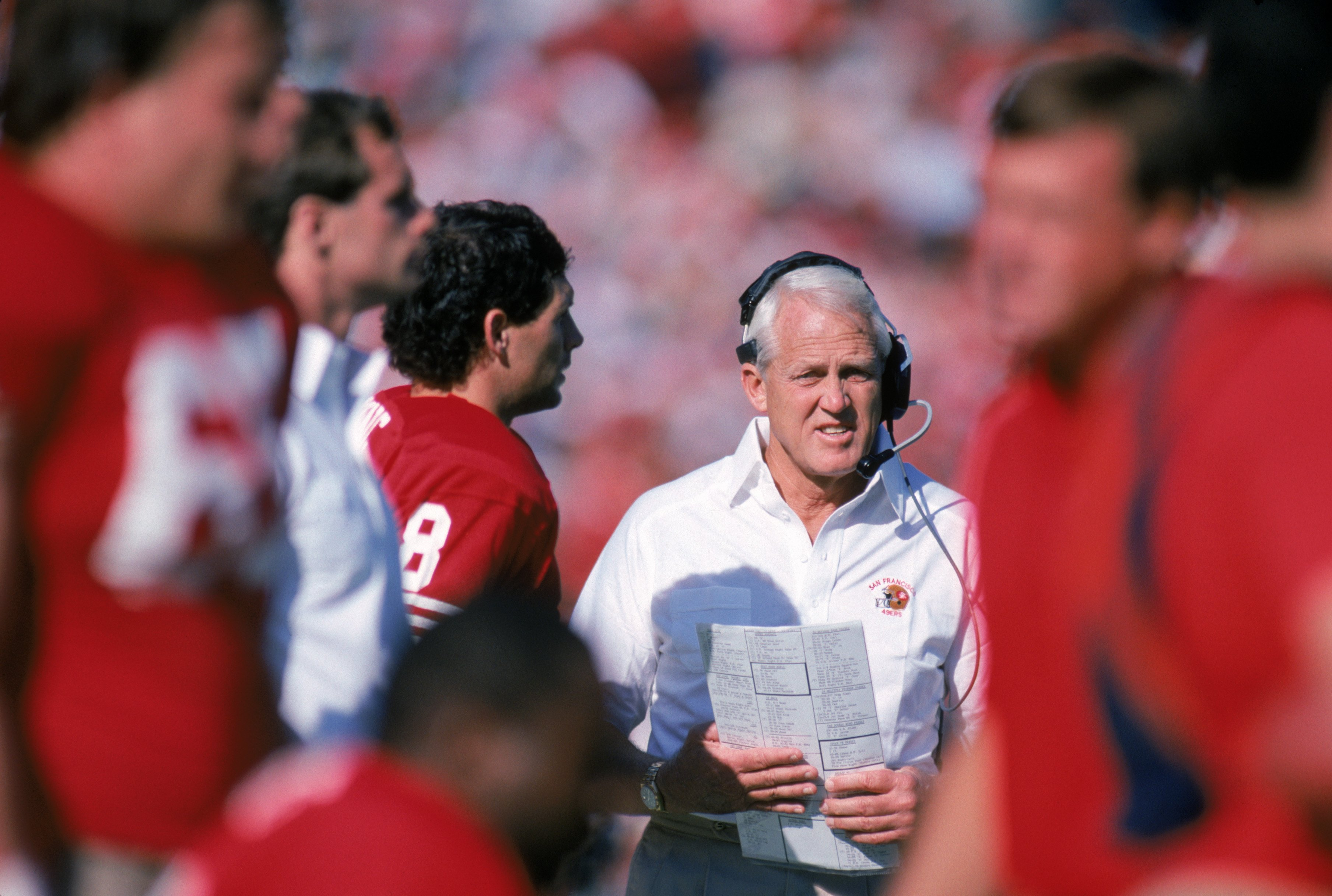 SAN FRANCISCO - NOVEMBER 8:  Head coach Bill Walsh of the San Francisco 49ers stands on the sidelines during a game against the Houston Oilers at Candlestick Park on November 8, 1987 in San Francisco, California.  The 49ers won 27-20.  (Photo by George Ro