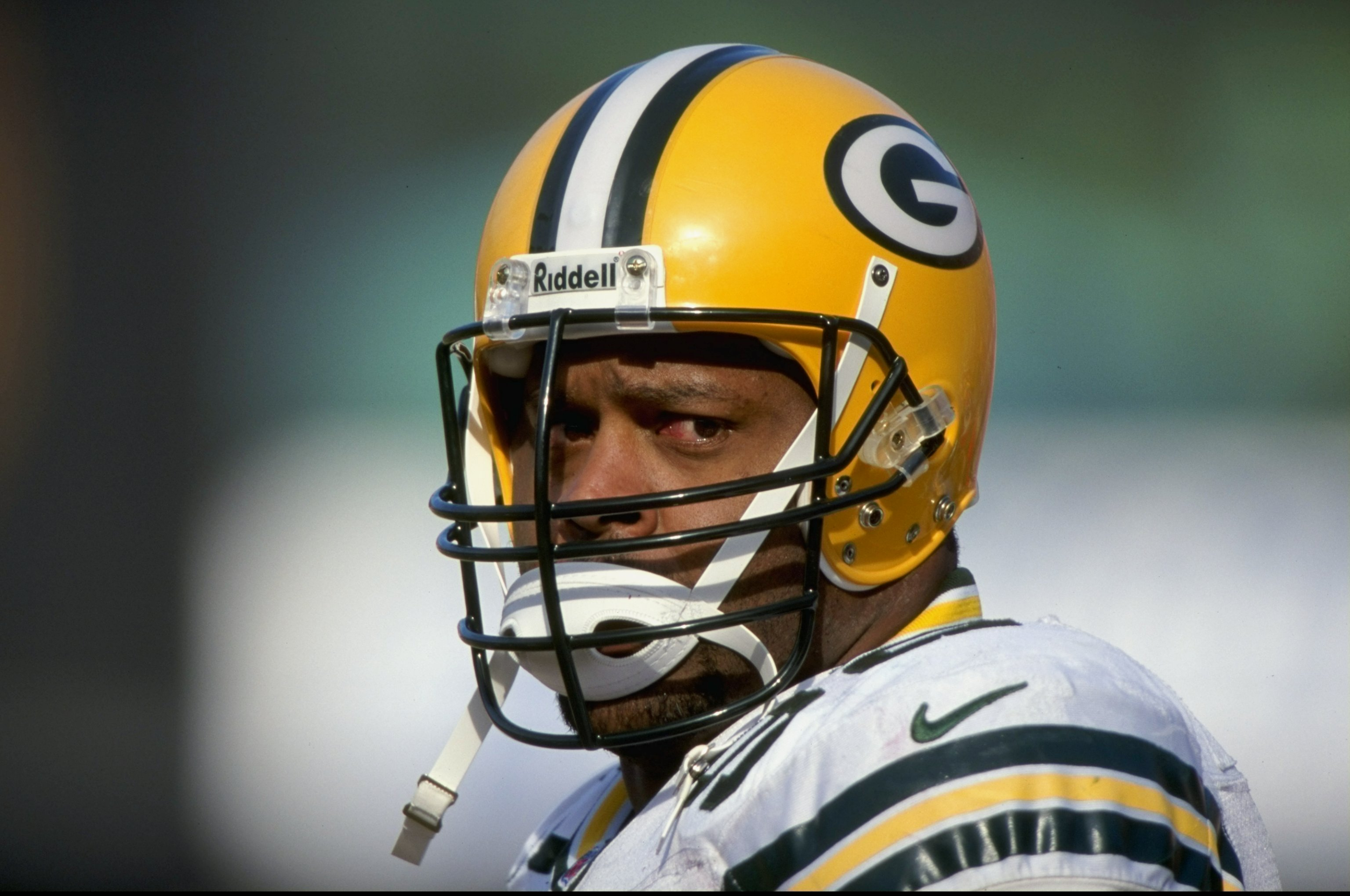 3 Jan 1999: Reggie White #42 of the Green Bay Packers looks on during the NFC Wild Card Game against the San Francisco 49ers at the 3Com Park in San Francisco, California. The 49ers defeated the Packers 30-27. Mandatory Credit: Todd Warshaw  /Allsport