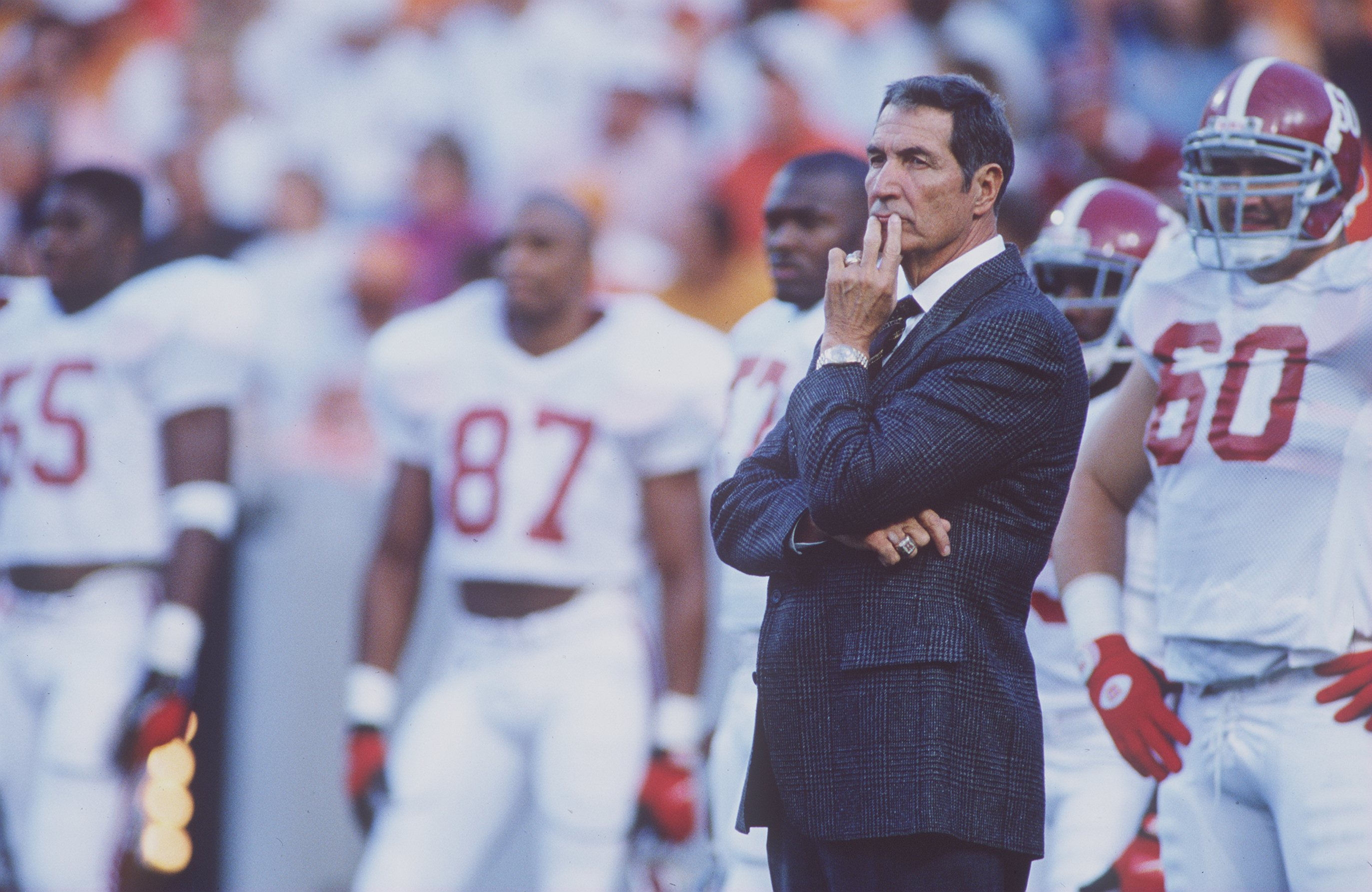 15 OCT 1994:  ALABAMA HEAD COACH GENE STALLINGS STANDS ON THE FIELD WITH HIS TEAM BEFORE THE CRIMSON TIDE'S 17-13 VICTORY OVER THE TENNESSEE VOLUNTEERS AT NEYLAND STADIUM IN KNOXVILLE, TENNESSEE Mandatory Credit: Rick Stewart/ALLSPORT