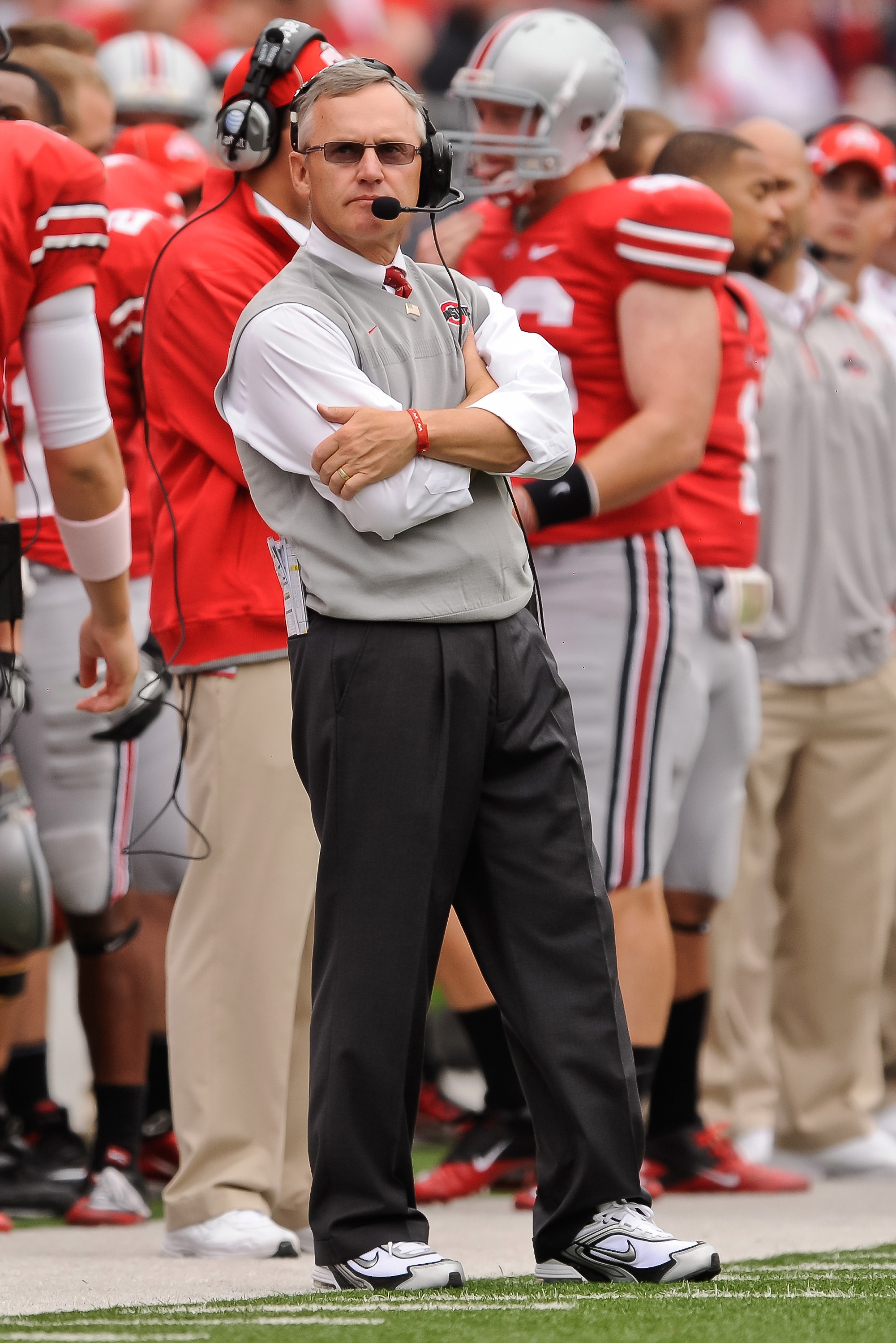 COLUMBUS, OH - OCTOBER 23:  Head Coach Jim Tressel of the Ohio State Buckeyes watches his team play the Purdue Boilermakers at Ohio Stadium on October 23, 2010 in Columbus, Ohio.  (Photo by Jamie Sabau/Getty Images)
