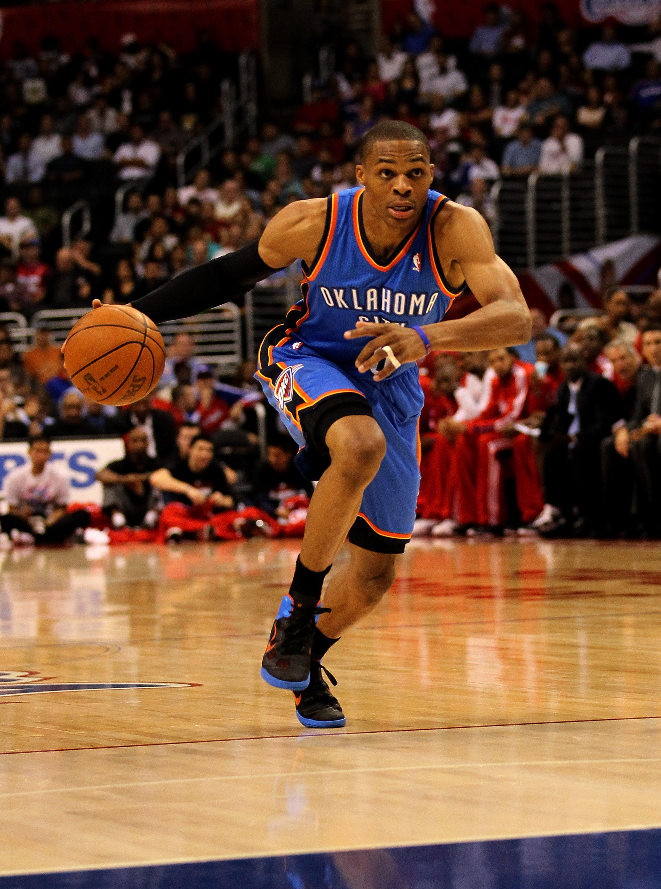 LOS ANGELES - NOVEMBER 3: Russell Westbrook #0 of the Oklahoma City Thunder drives against the Los Angeles Clippers at Staples Center on November 3, 2010 in Los Angeles, California.  NOTE TO USER: User expressly acknowledges and agrees that, by downloadin