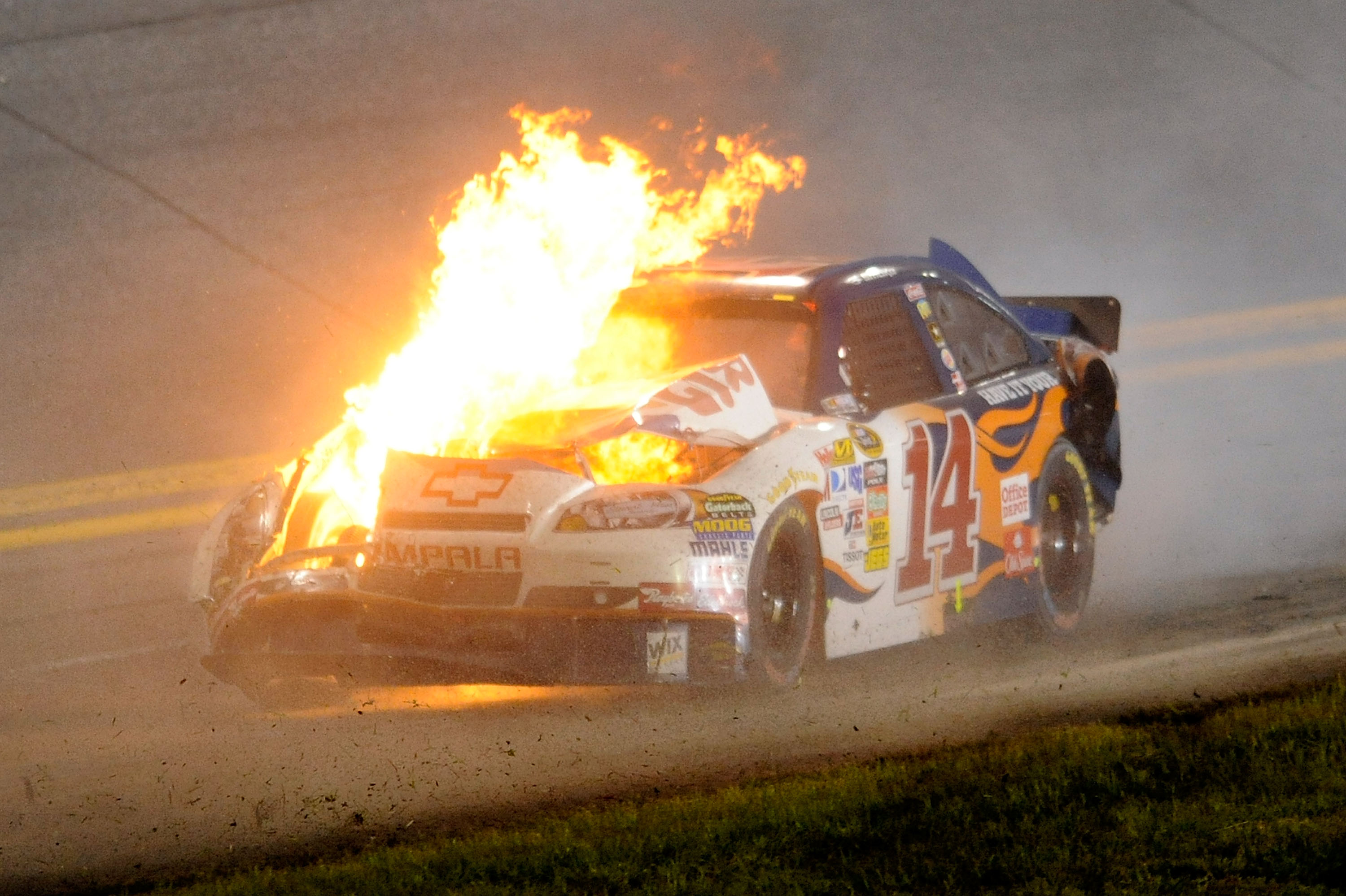 Tony Stewart's last trip to Daytona in July ended with him flame broiled.