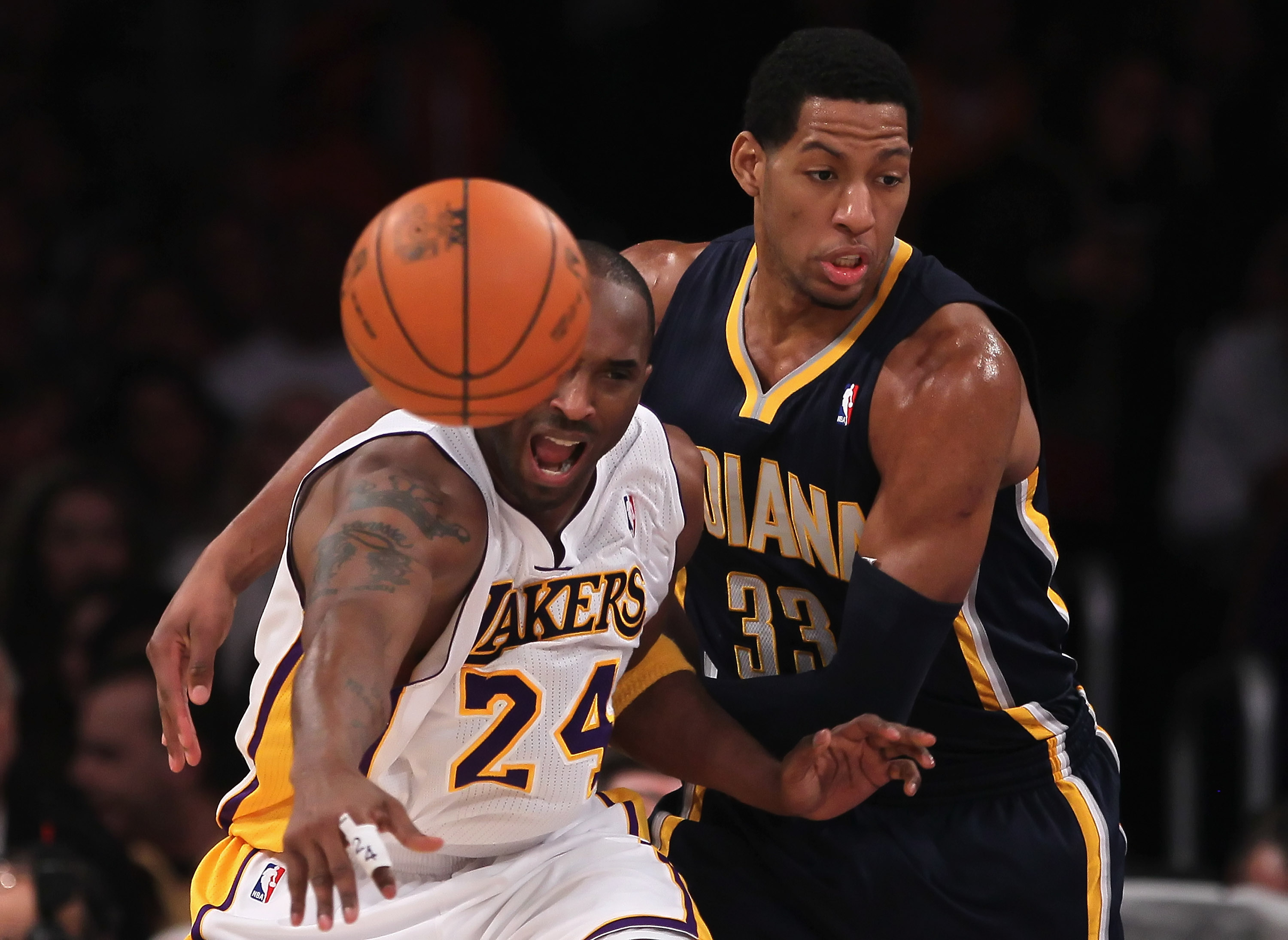 LOS ANGELES, CA - NOVEMBER 28:  Danny Granger #33 of the Indiana Pacers steals the ball from Kobe Bryant #24 of the Los Angeles Lakers during the second quarter at Staples Center on November 28, 2010 in Los Angeles, California. The Pacers defeated the Lak