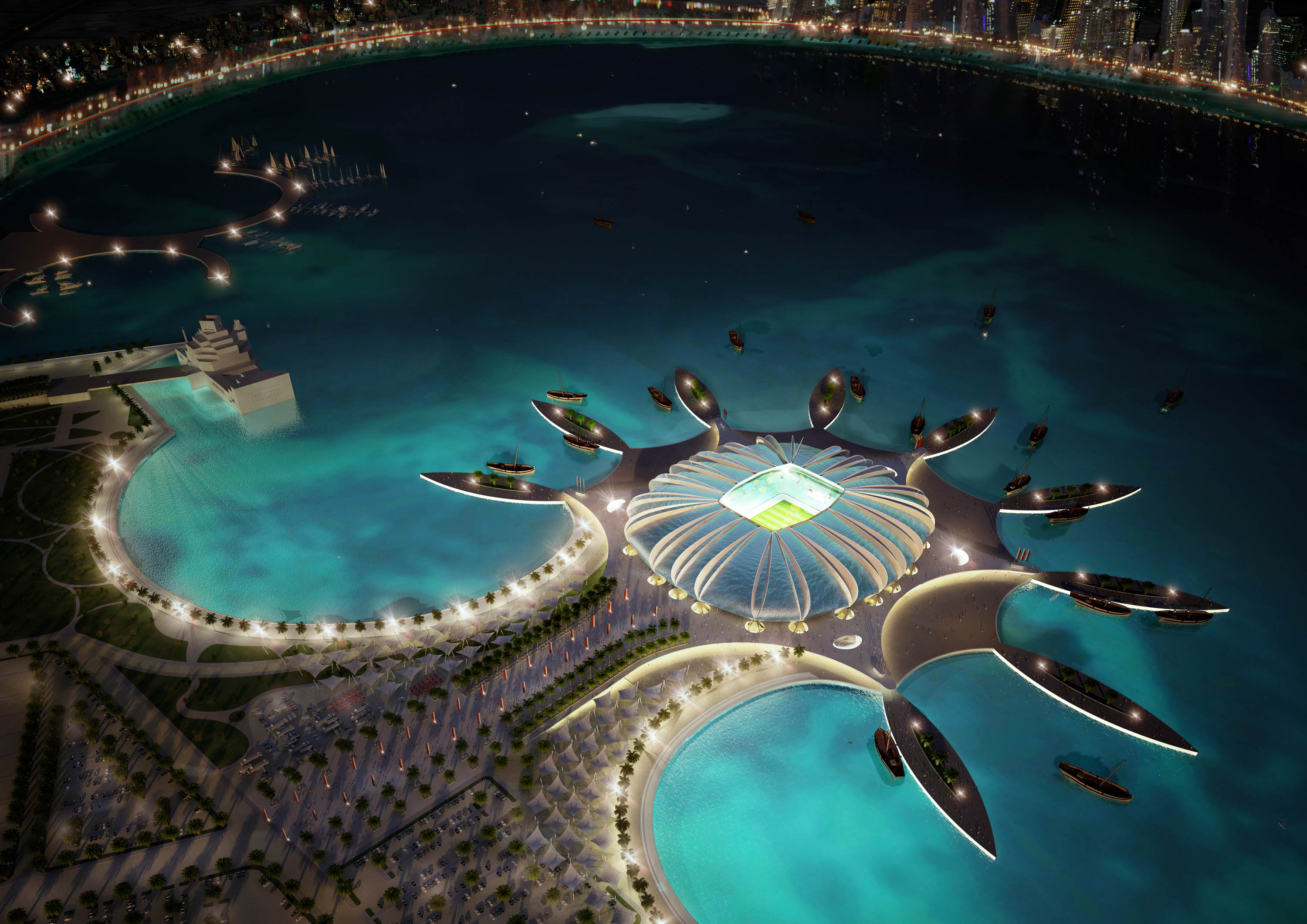 DOHA, QATAR - UNDATED:   In this handout image supplied by Qatar 2022  The Doha Port stadium is pictured in this artists impression as Qatar 2022 World Cup bid unveils it's stadiums on September 16, 2010 in Doha, Qatar. The architecture of the stadium ref