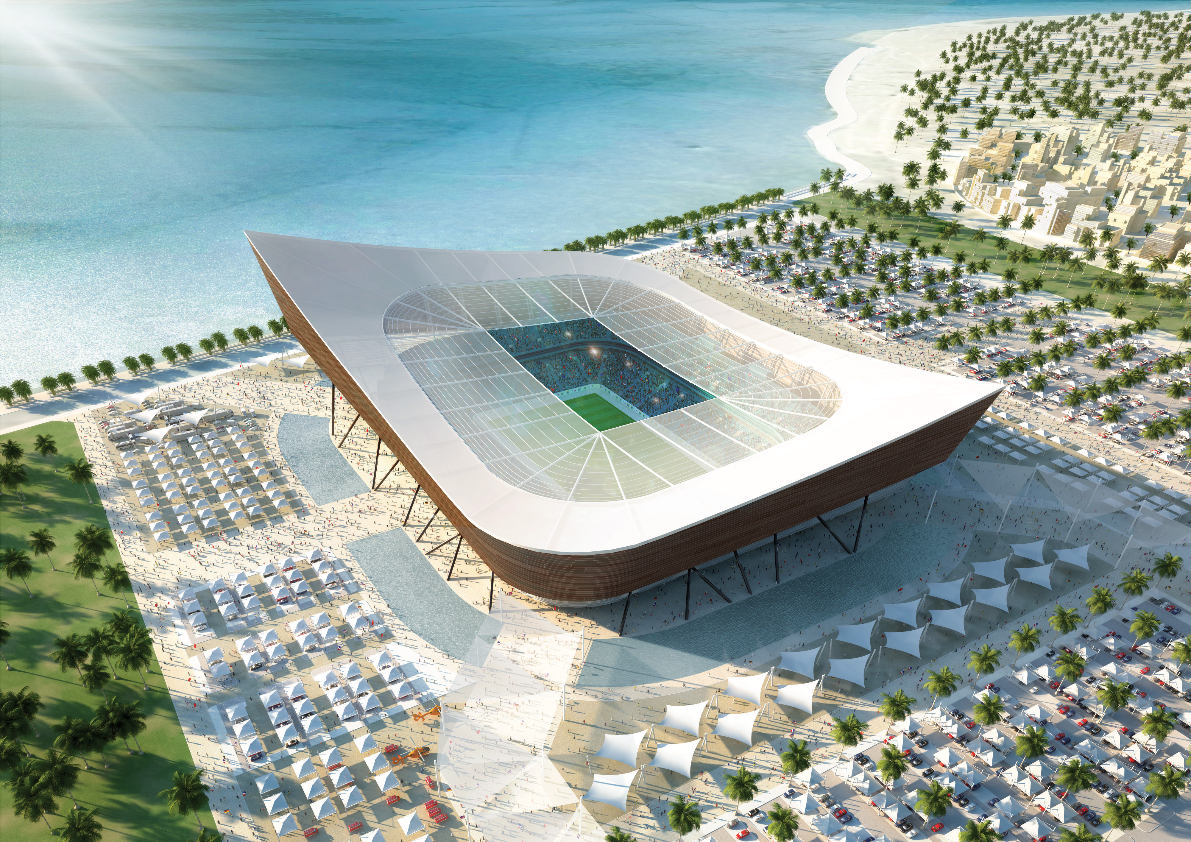 AL SHAMAL, QATAR:  In this artist's illustration provided by Qatar 2022/HH Vision, an aerial view is displayed of a 45,120 capacity stadium located in Al-Shamal in the north of Qatar, on the edge of the Arabian Gulf. The stadium's bowl shape design is der
